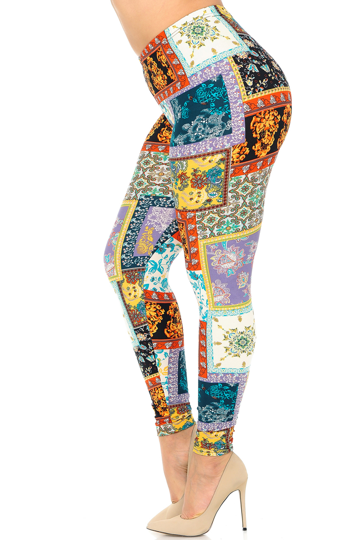 Brushed Quilted Brocade Plus Size Leggings
