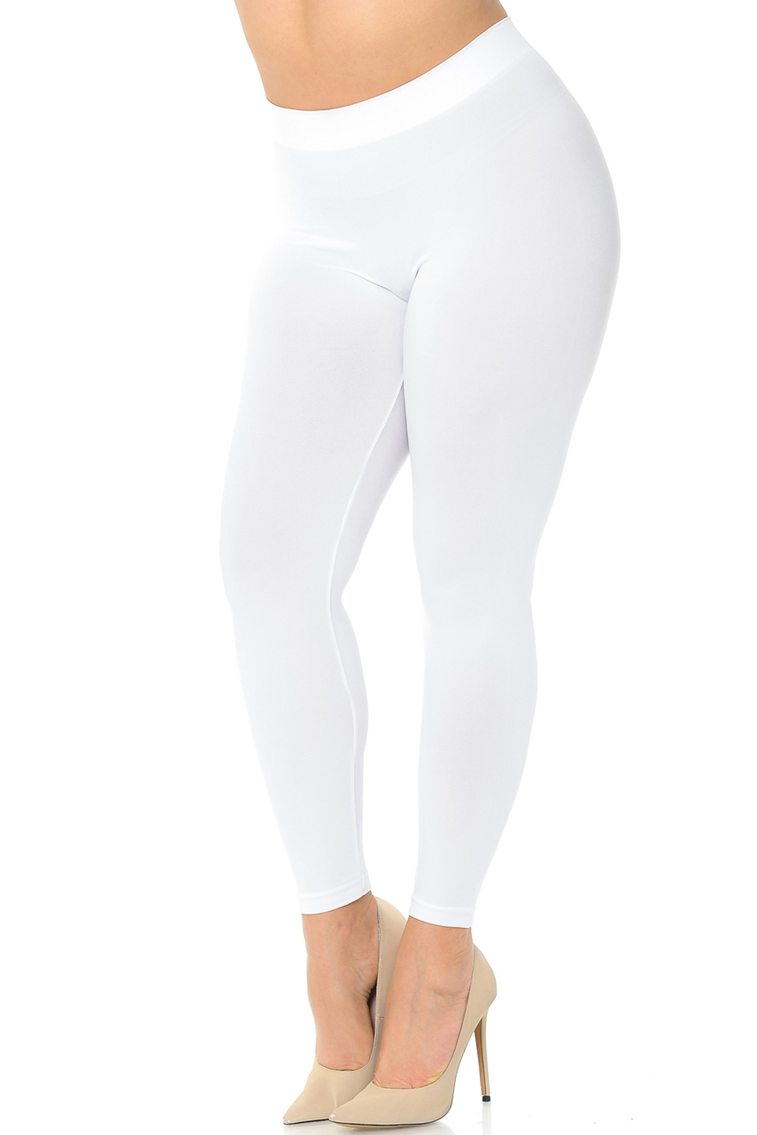 Nylon Spandex Solid Basic Plus Size Leggings
