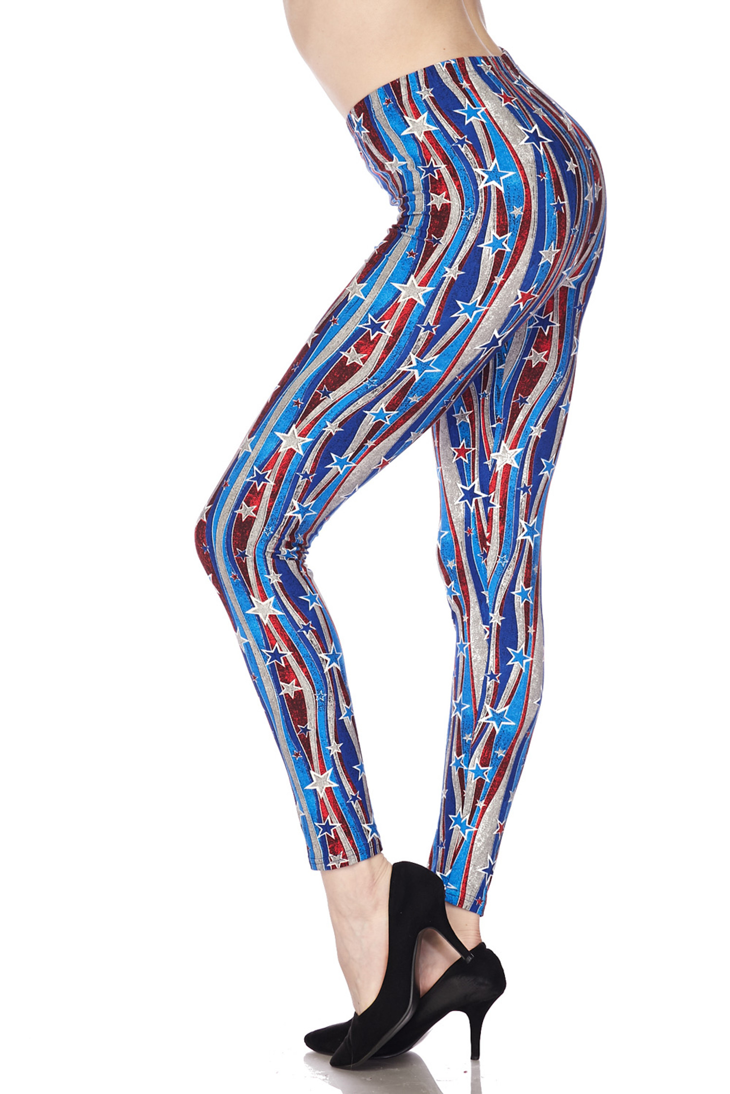 Brushed Metallic USA Flag Plus Size Leggings