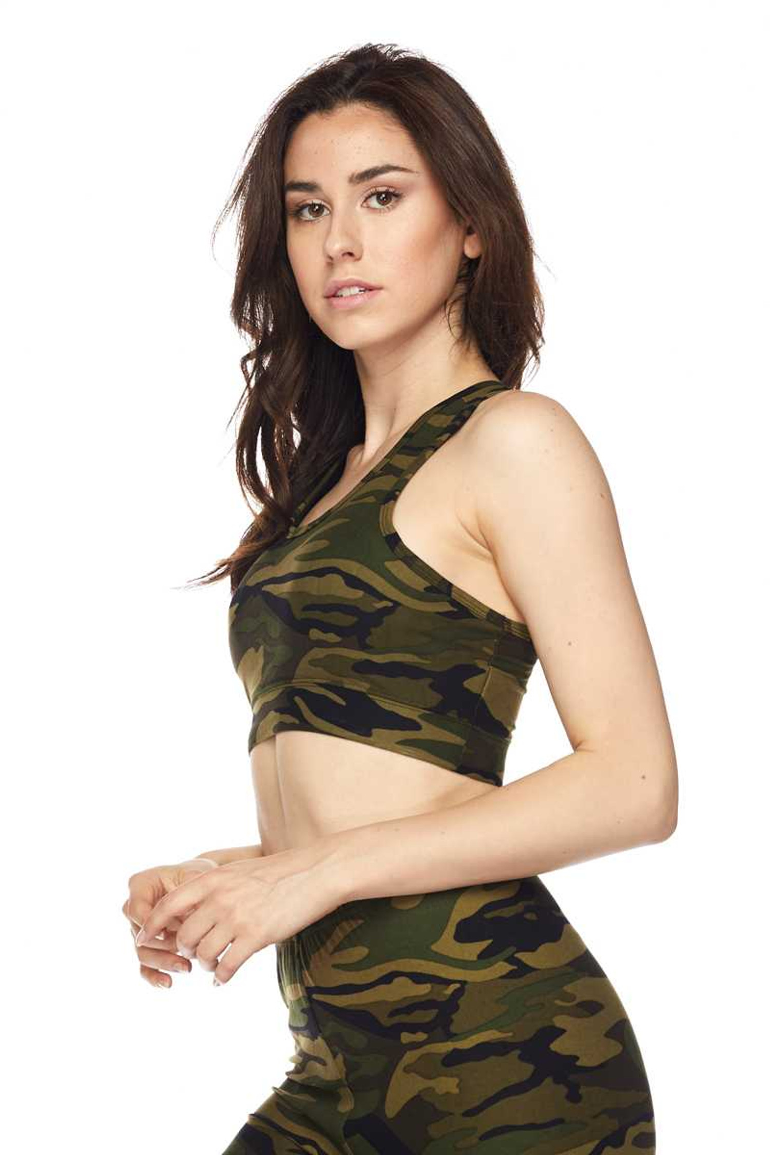 Brushed Green Camouflage Women's Bra Top Side