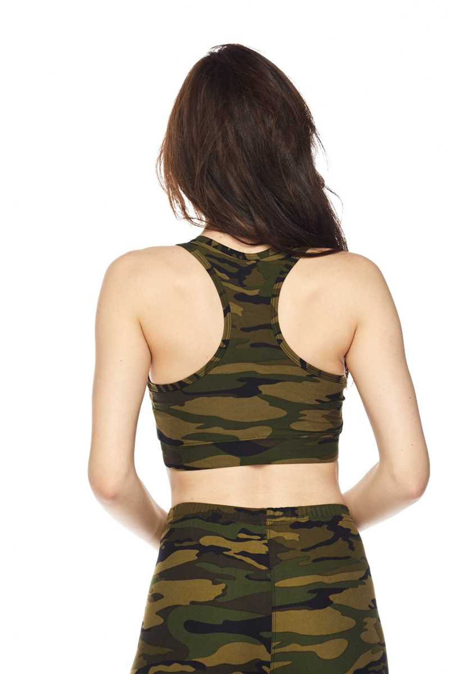Brushed Green Camouflage Women's Bra Top Back