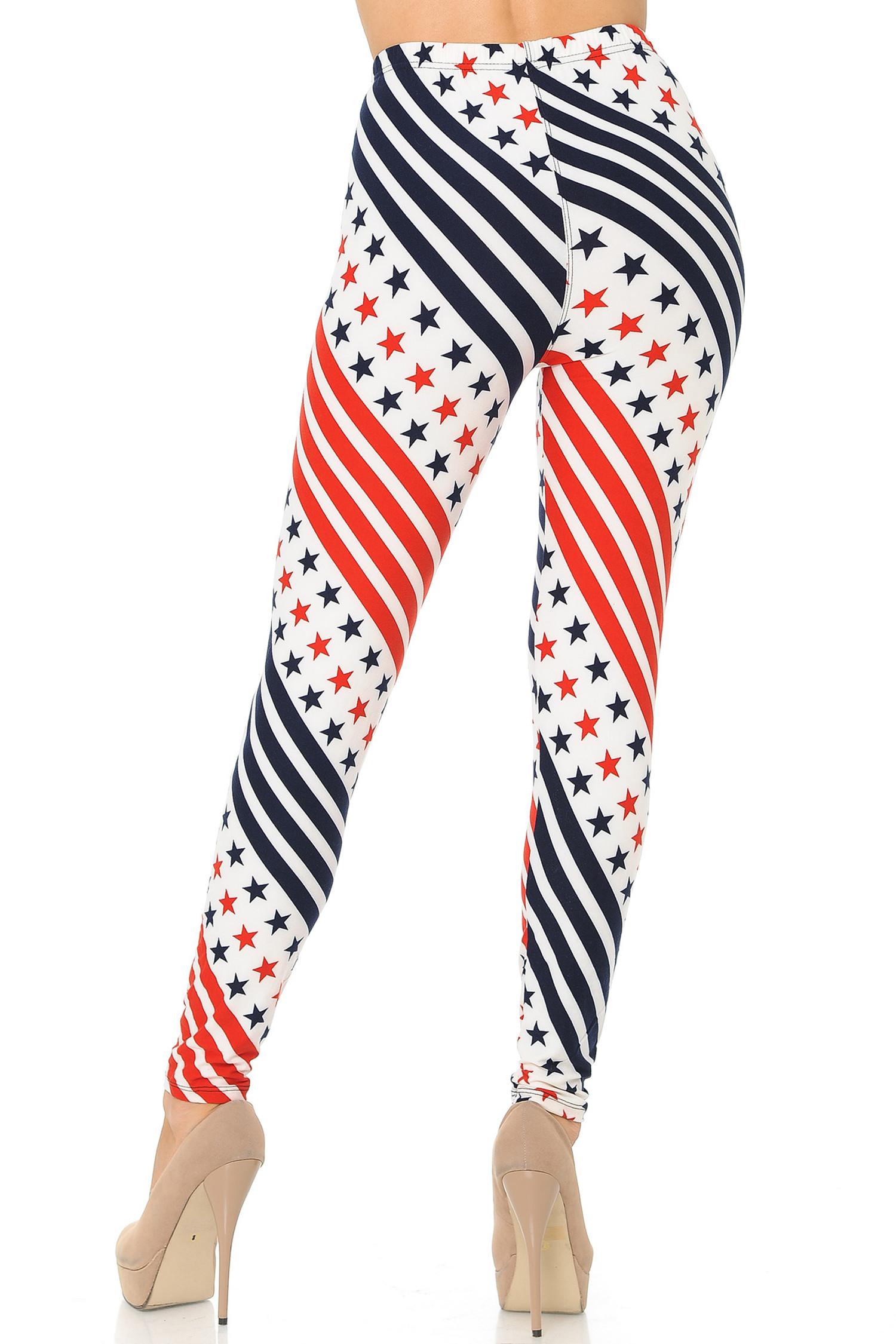 Brushed Twirling Stars and Stripes USA Flag Leggings