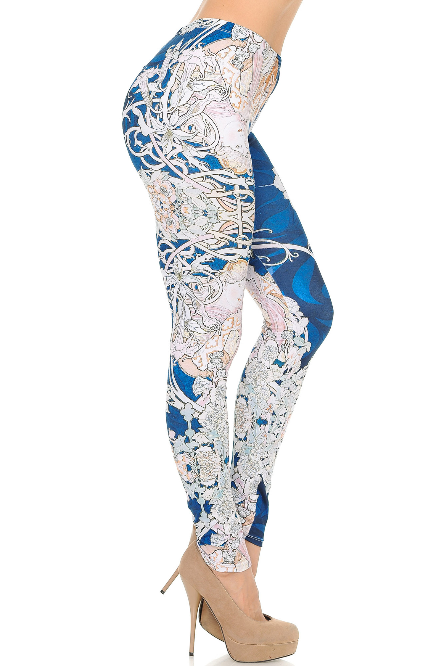 Right Side Image of Double Soft Brushed Twisted Eden Vine Leggings