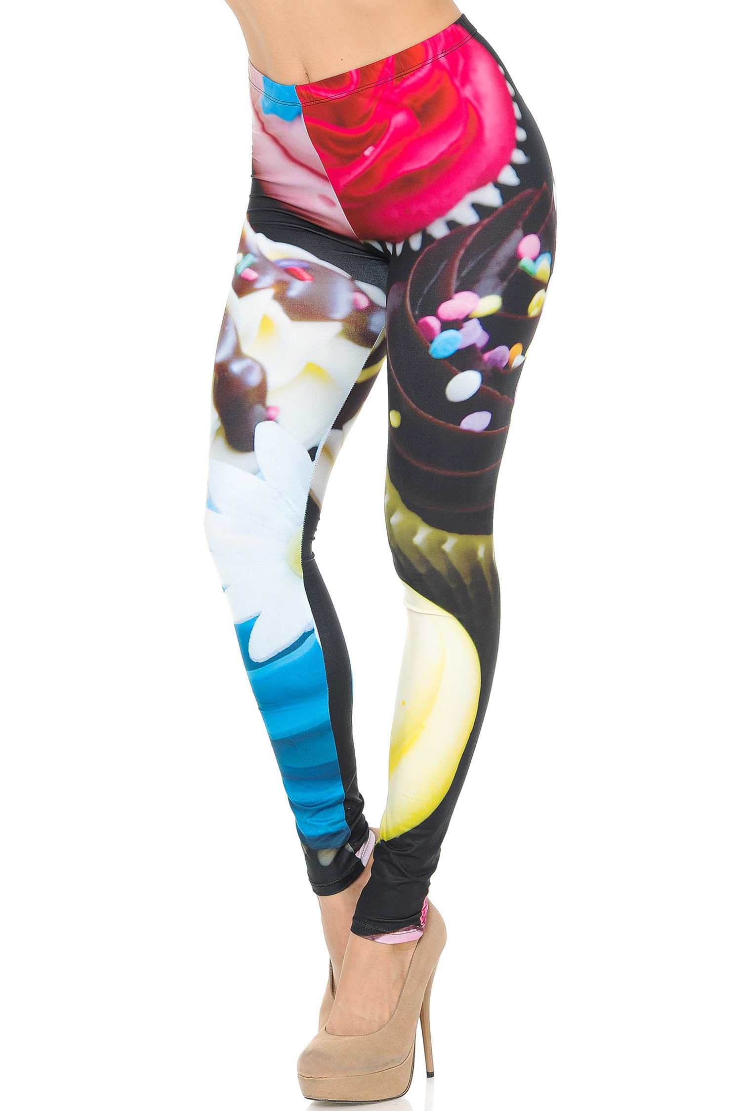 Left Side Image of Double Soft Brushed Colorful Cupcake Leggings