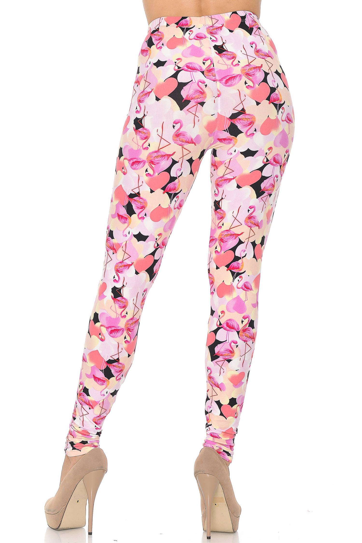 Soft Brushed Gorgeous Pink Flamingos Leggings