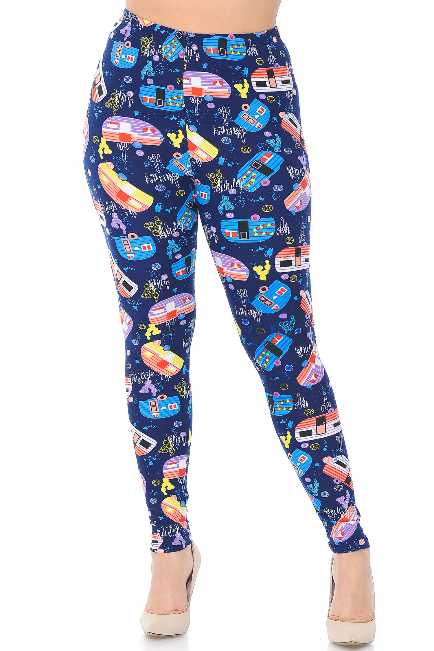 Soft Brushed Retro Campers Extra Plus Size Leggings - 3X-5X