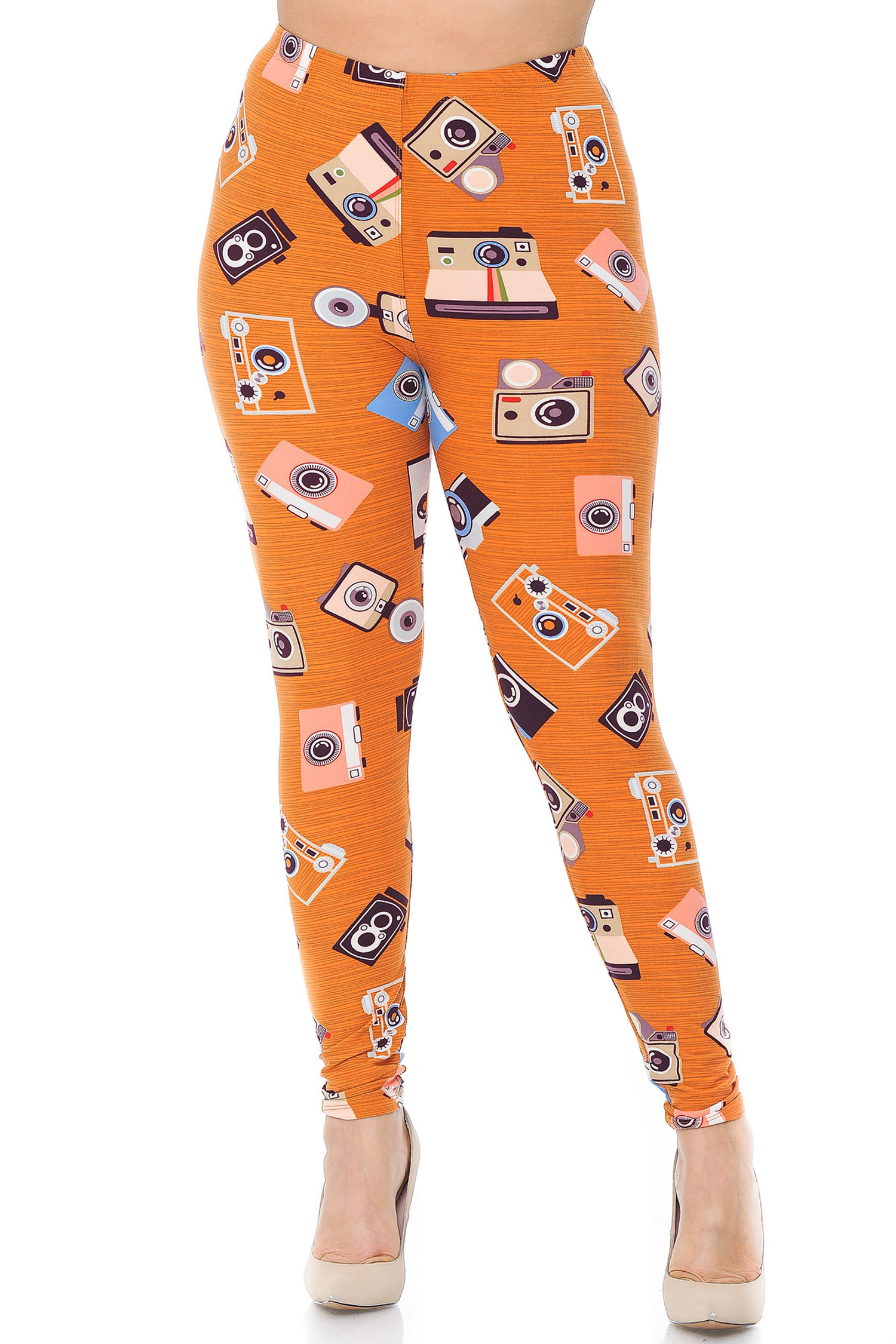 Soft Brushed Retro Cameras Plus Size Leggings
