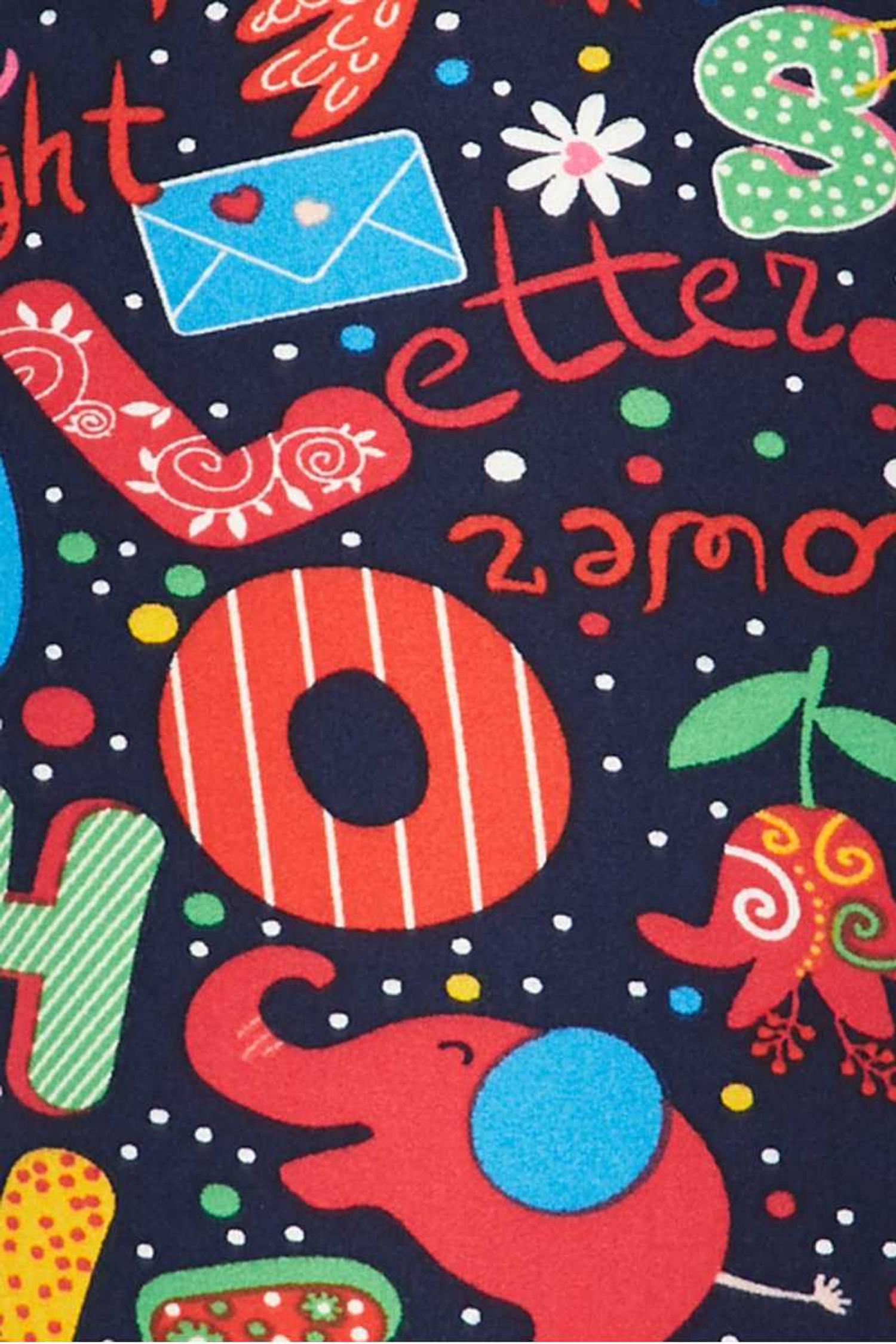 Soft Brushed Animal Letters Plus Size Capris