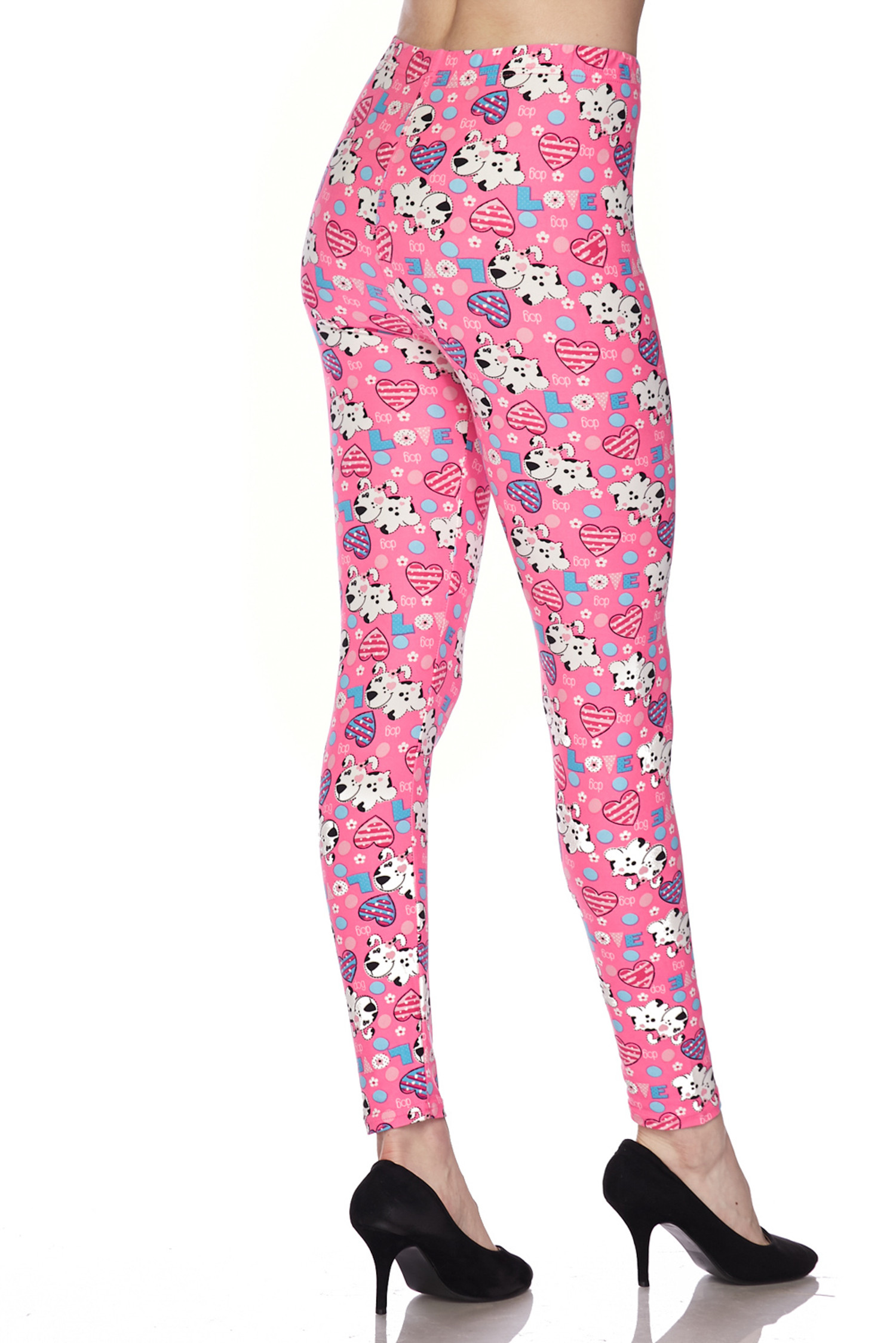 Soft Brushed Pink Puppy Dogs Plus Size Leggings