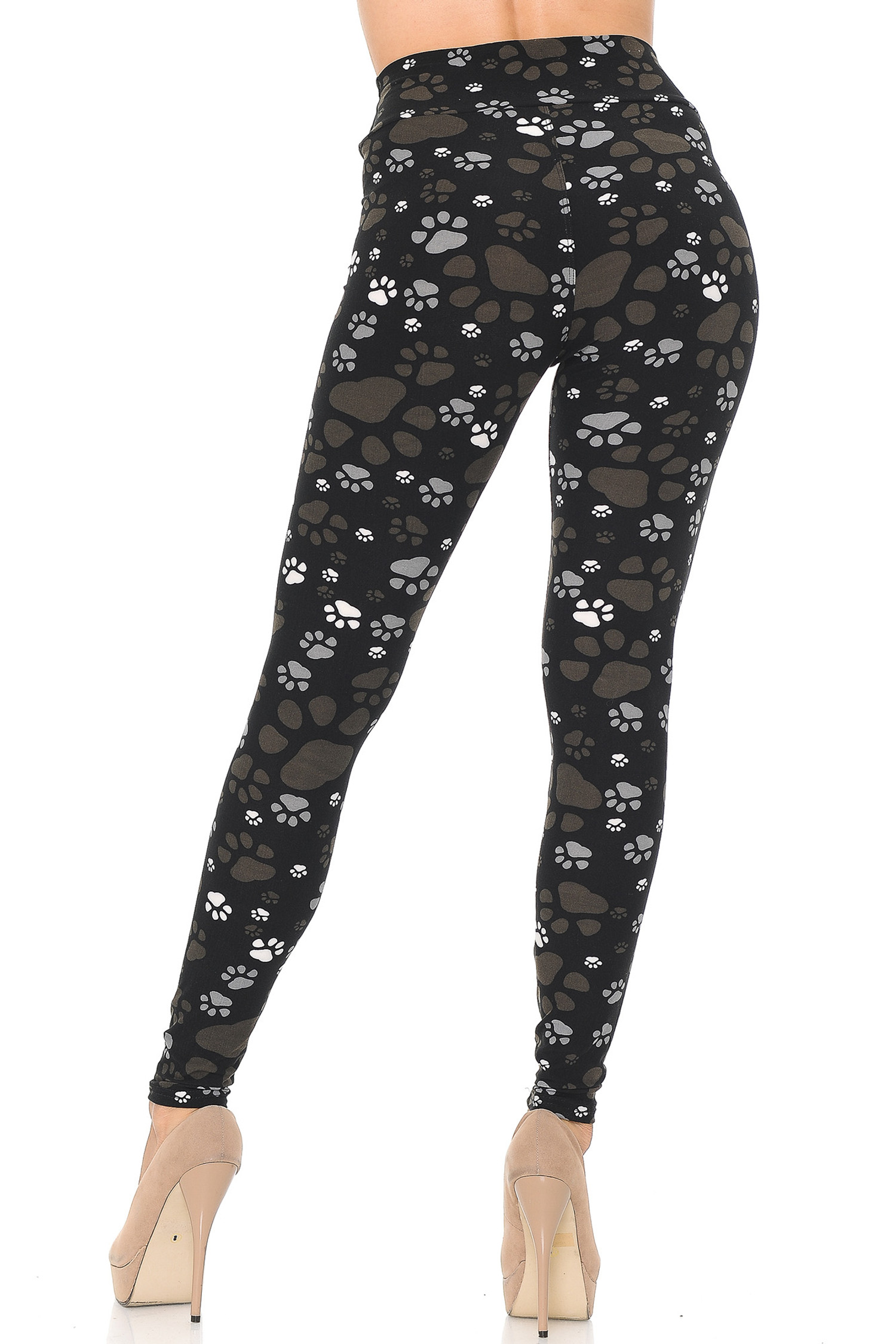Soft Brushed Muddy Paw Print High Waisted Leggings - USA Fashion