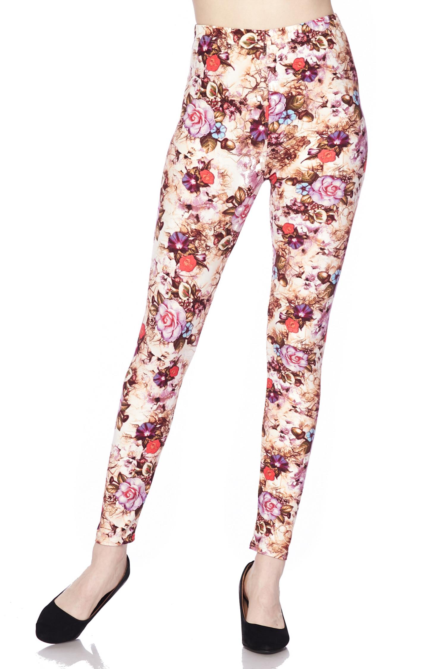 Soft Brushed Ginger Summer Floral Leggings