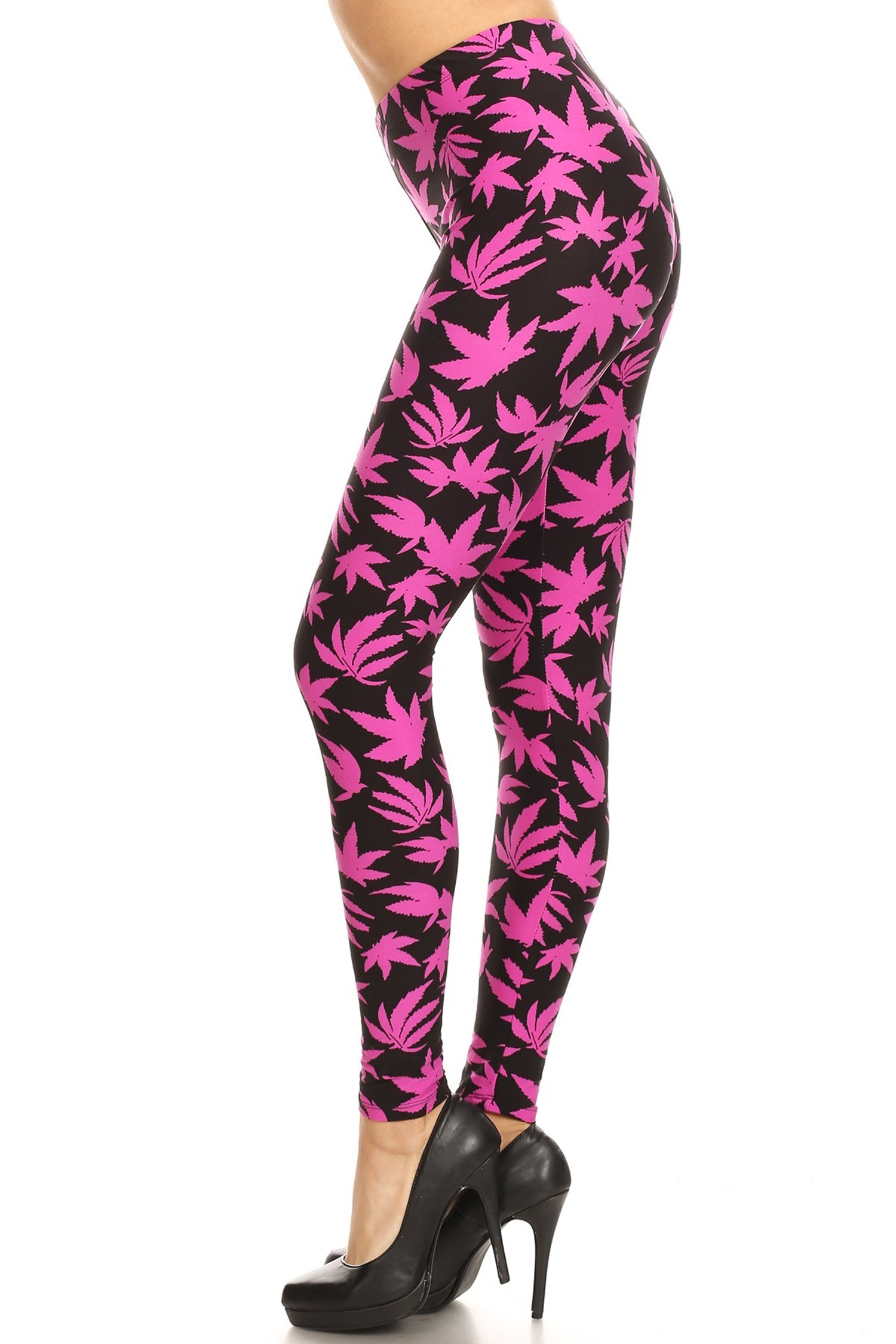 Soft Brushed Solid Fuchsia Marijuana Leggings