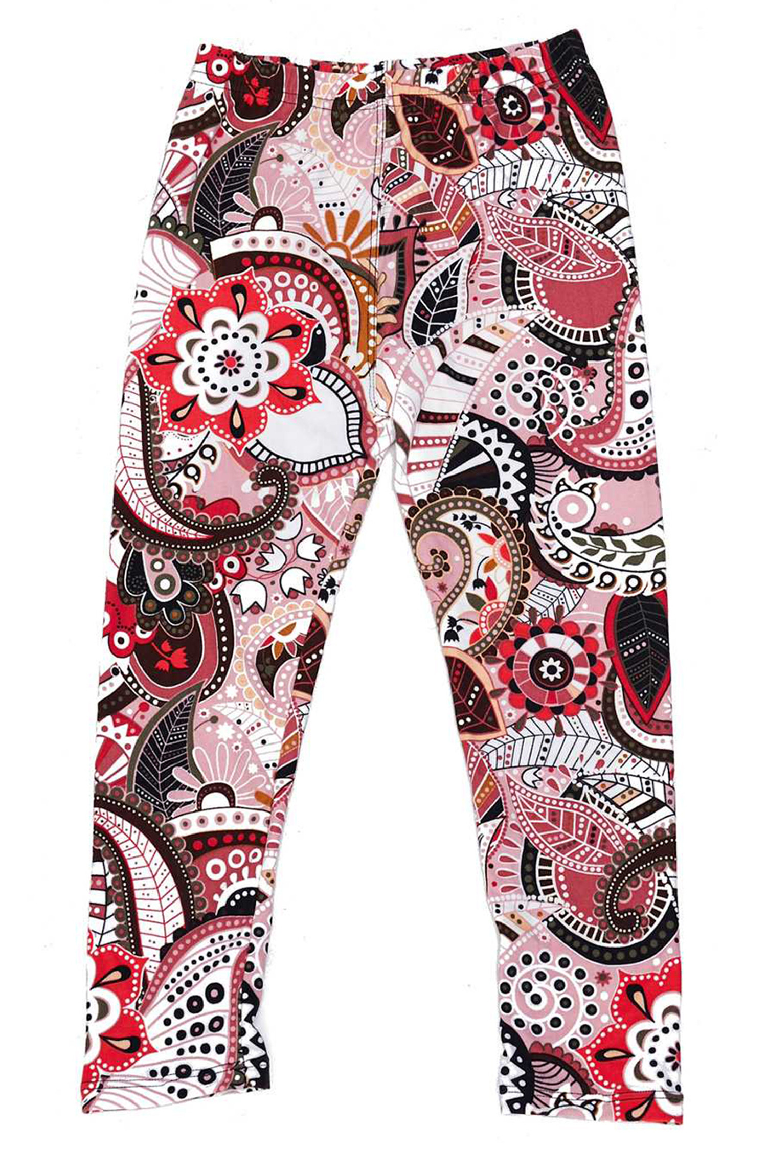 Soft Brushed Pink and Rose Paisley Kids Leggings