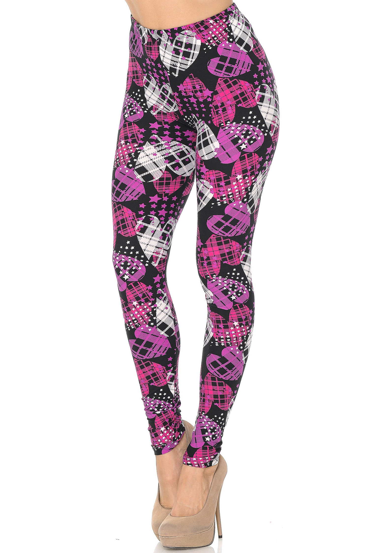 Soft Brushed Stars and Plaid Hearts Leggings