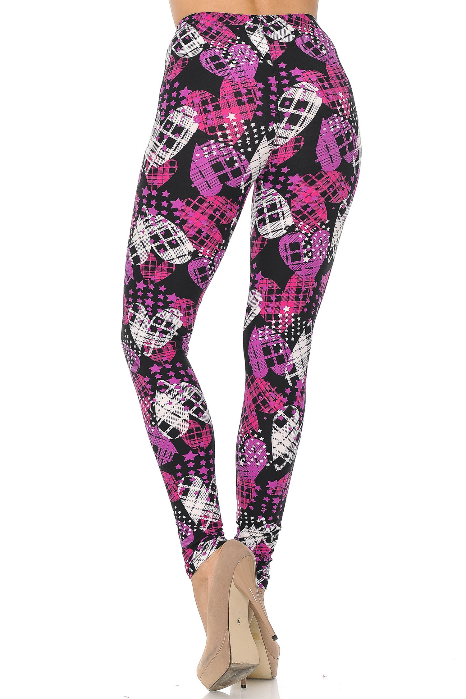 Soft Brushed Stars and Plaid Hearts Plus Size Leggings