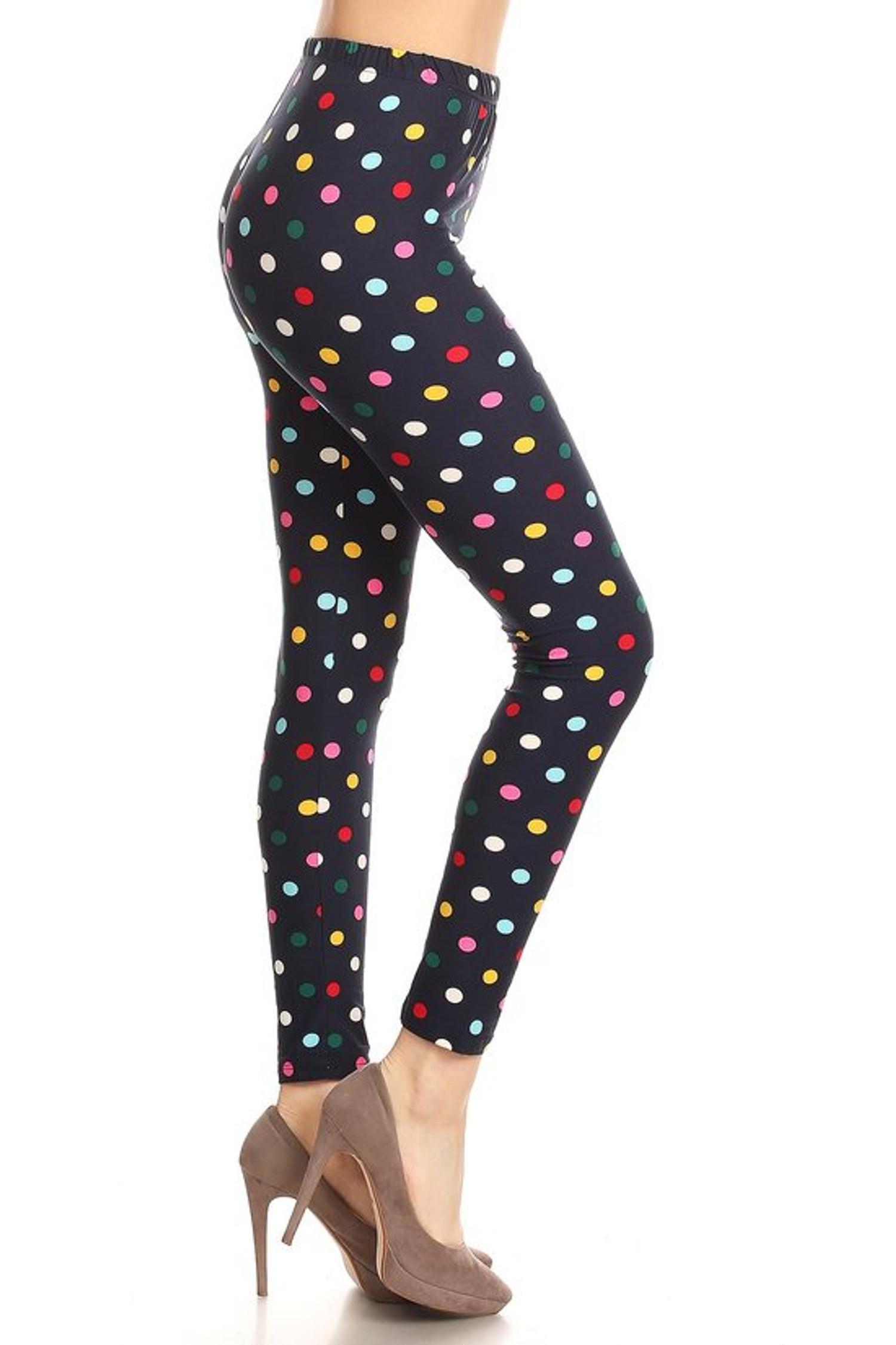 Soft Brushed Colorful Polka Dot Plus Size Leggings
