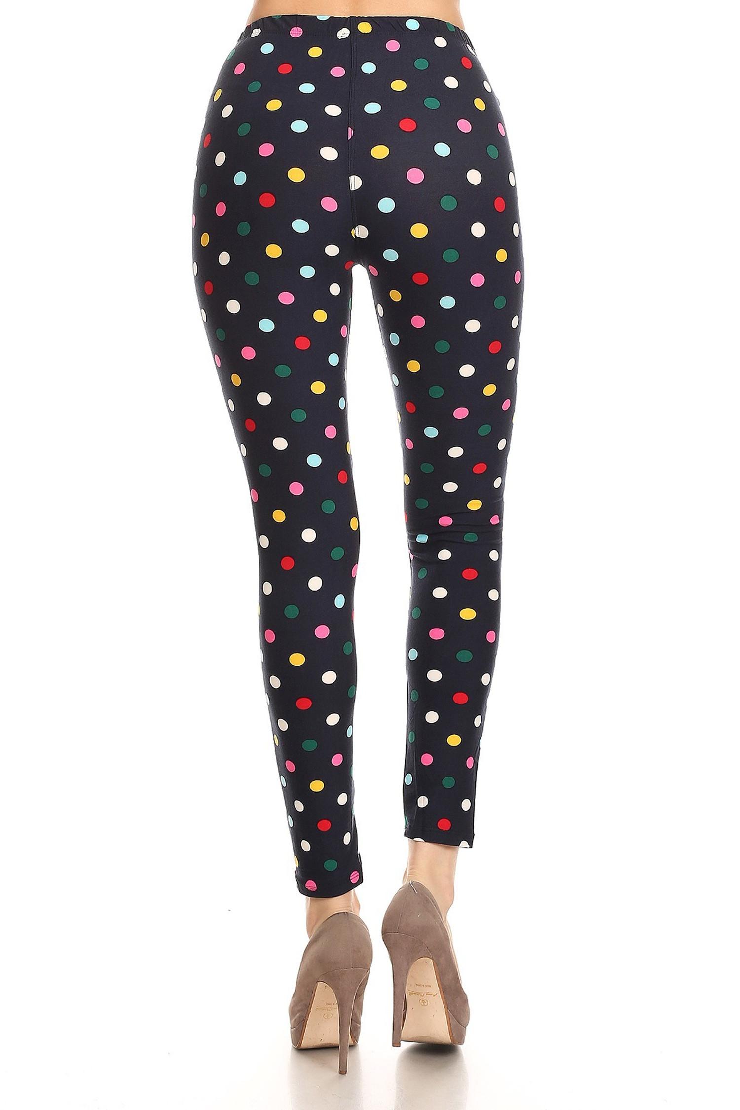 Soft Brushed Colorful Polka Dot Plus Size Leggings - 3X-5X