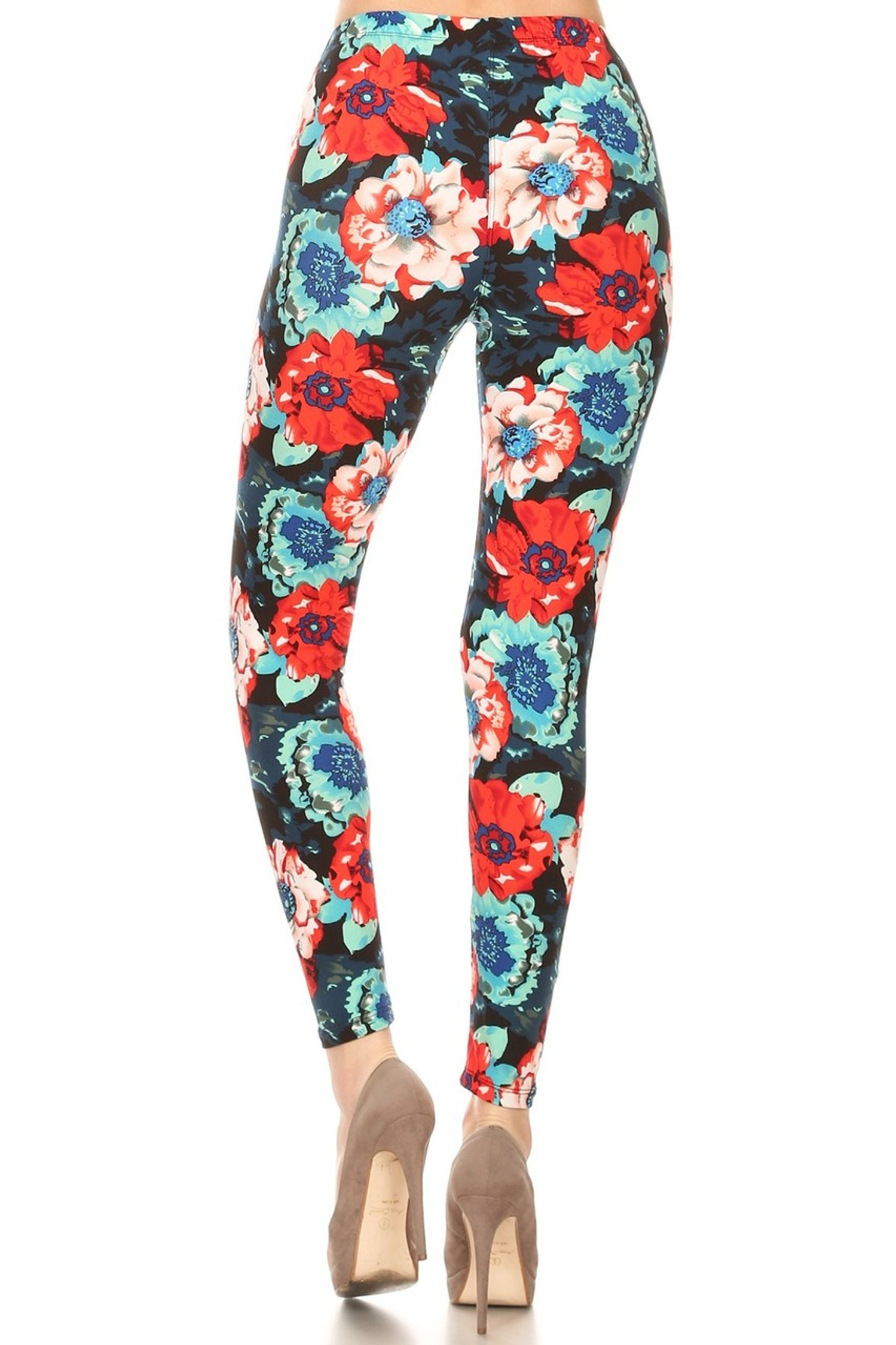 Soft Brushed Painted Floral Leggings