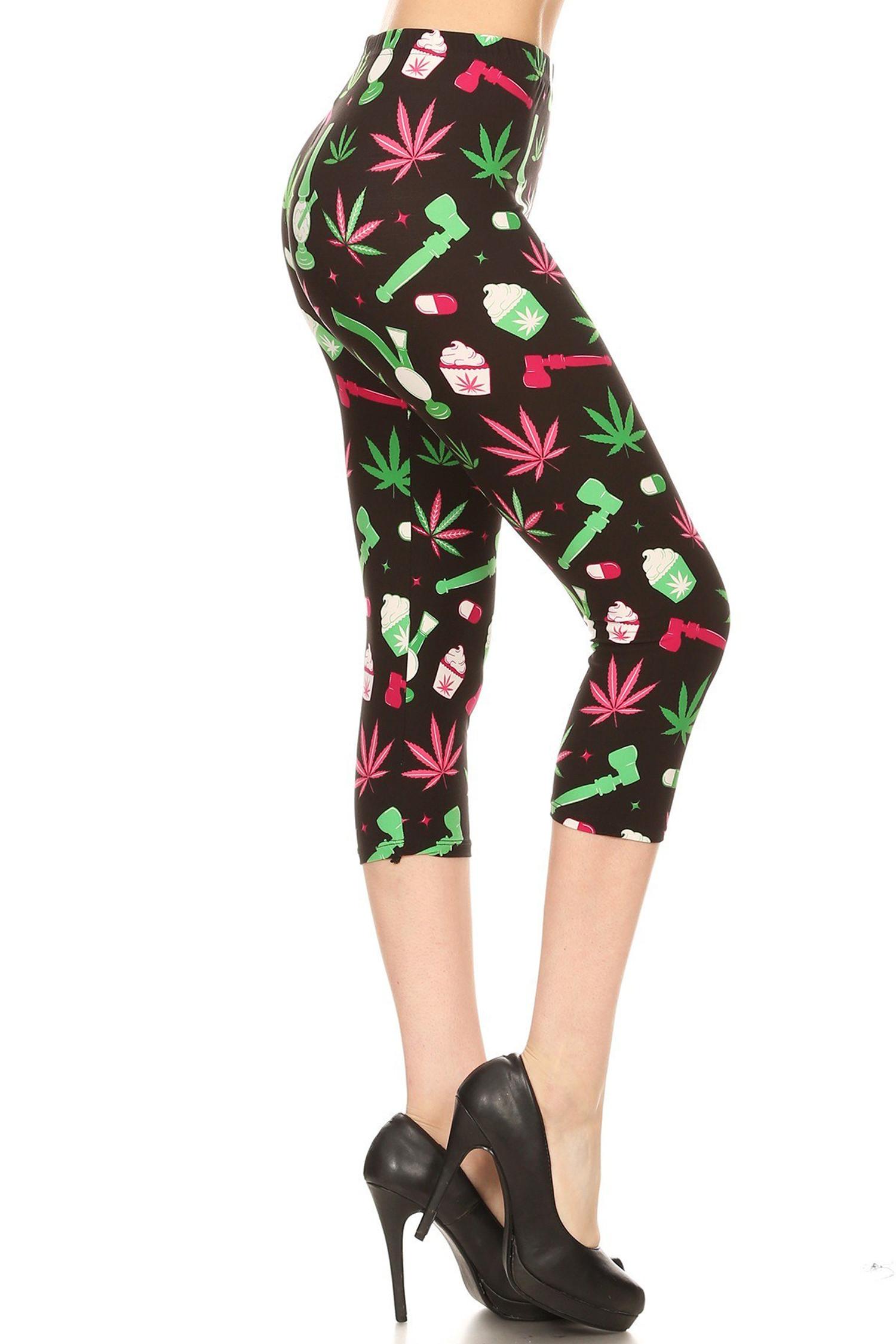 Soft Brushed Marijuana Esprit Extra Plus Size Capris - 3X-5X