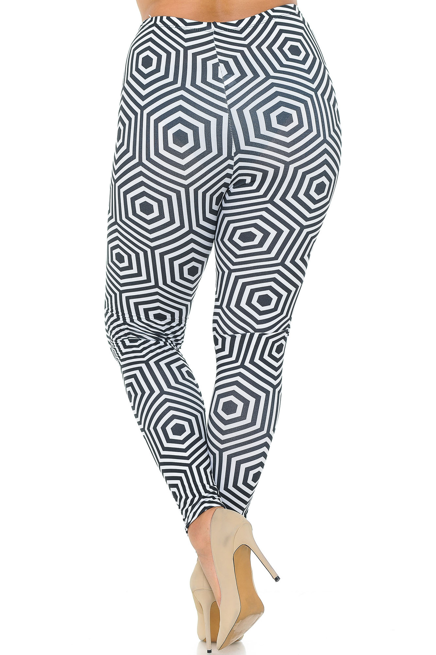 Double Brushed Hexagon Illusion Plus Size Leggings