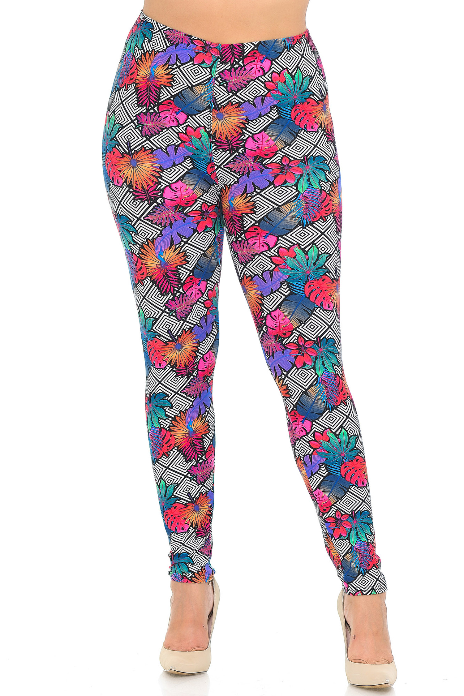 Soft Brushed Rainbow Foliage Extra Plus Size Leggings - 3X-5X