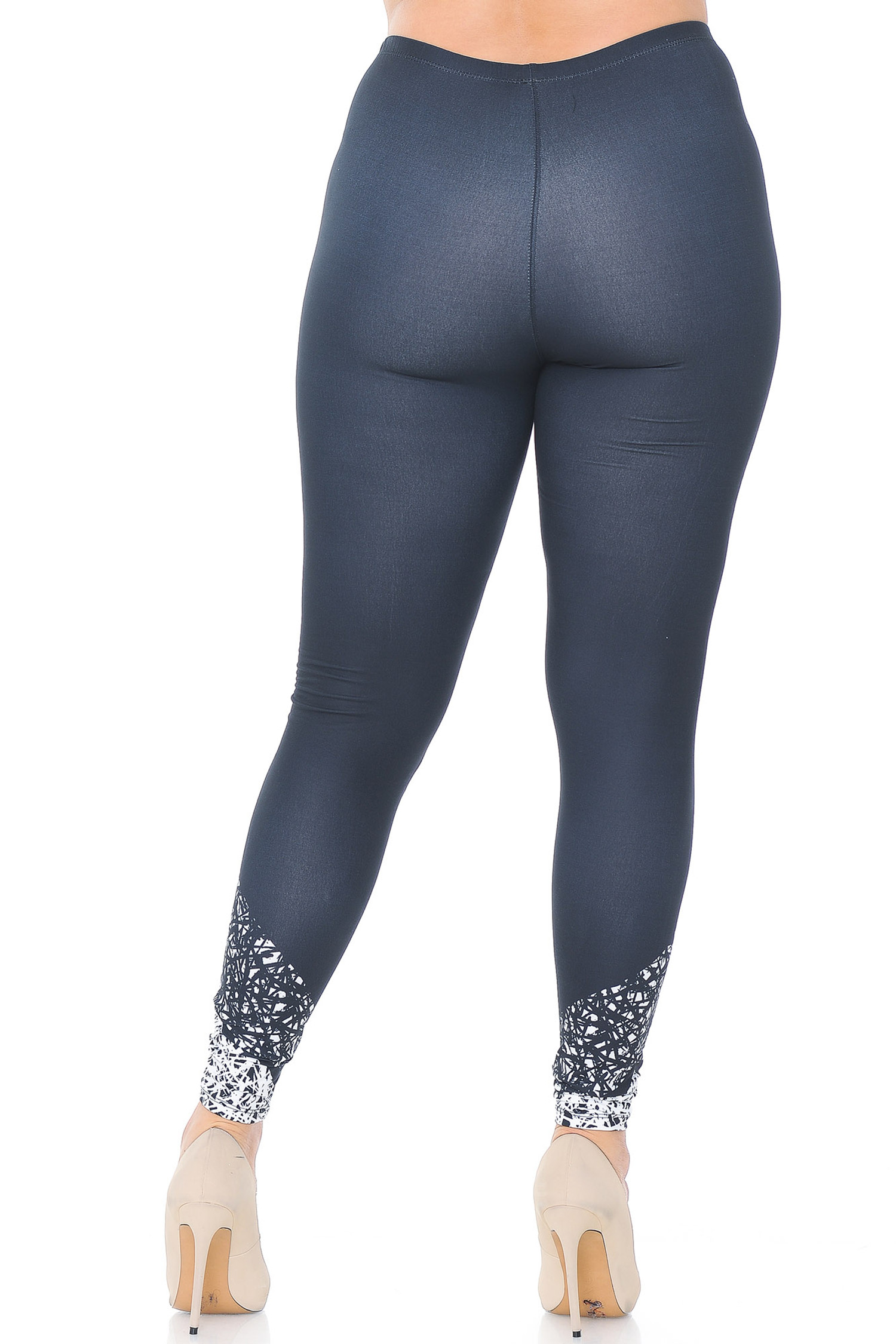 Creamy Soft Ebony Escapade Extra Plus Size Leggings - 3X-5X - USA Fashion™