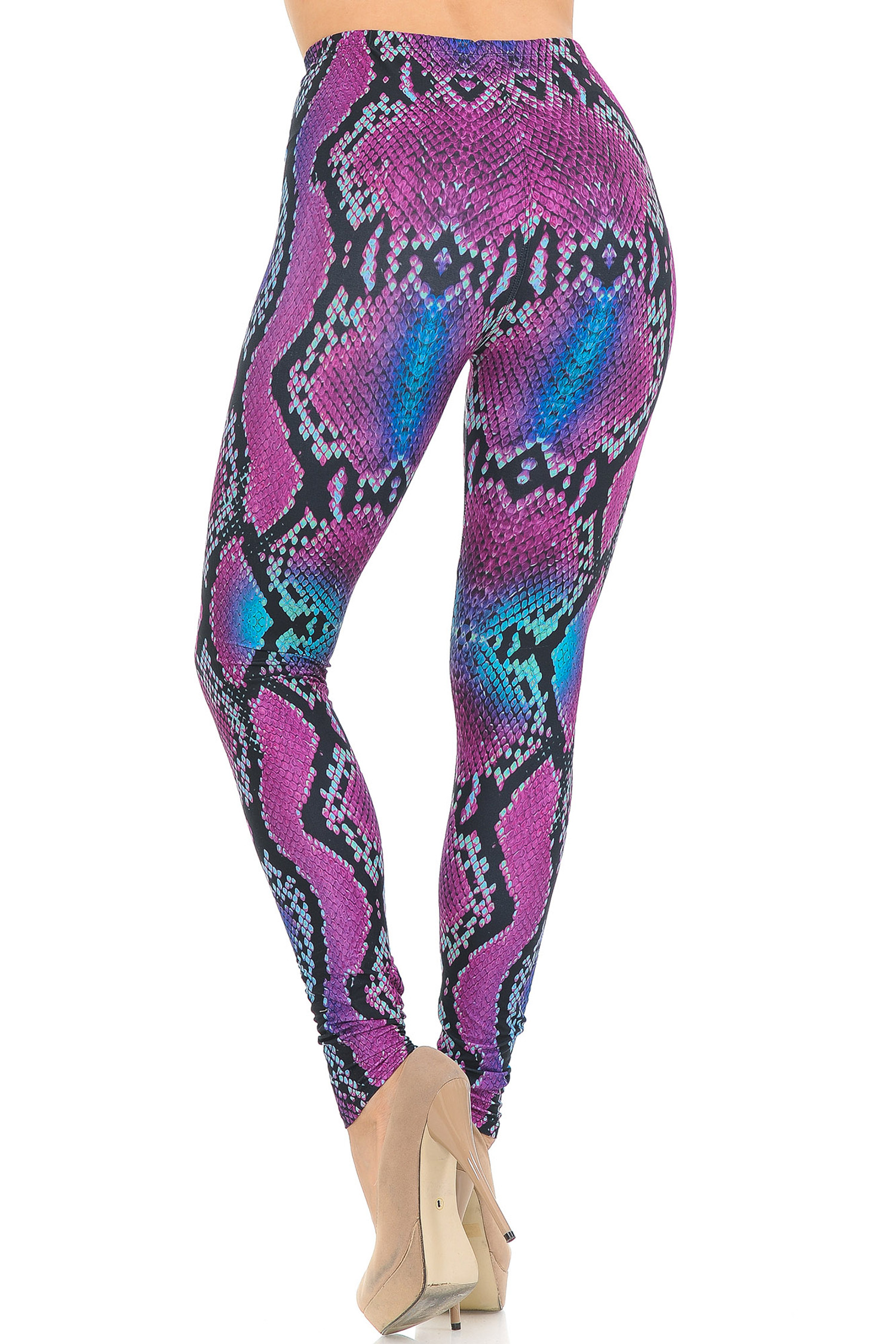 Creamy Soft Pink and Blue Snakeskin Leggings - USA Fashion™
