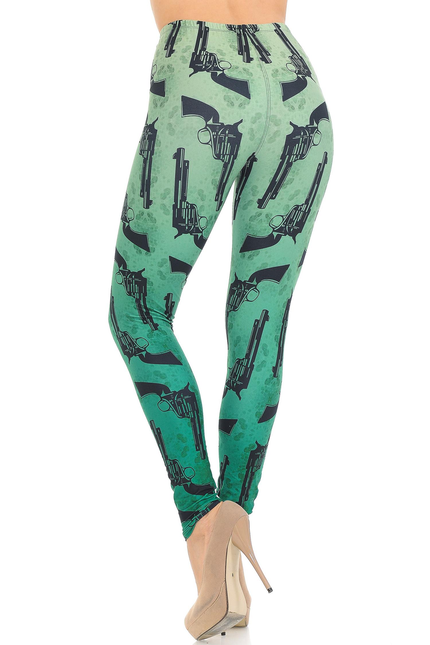 Creamy Soft Ombre Green Guns Leggings