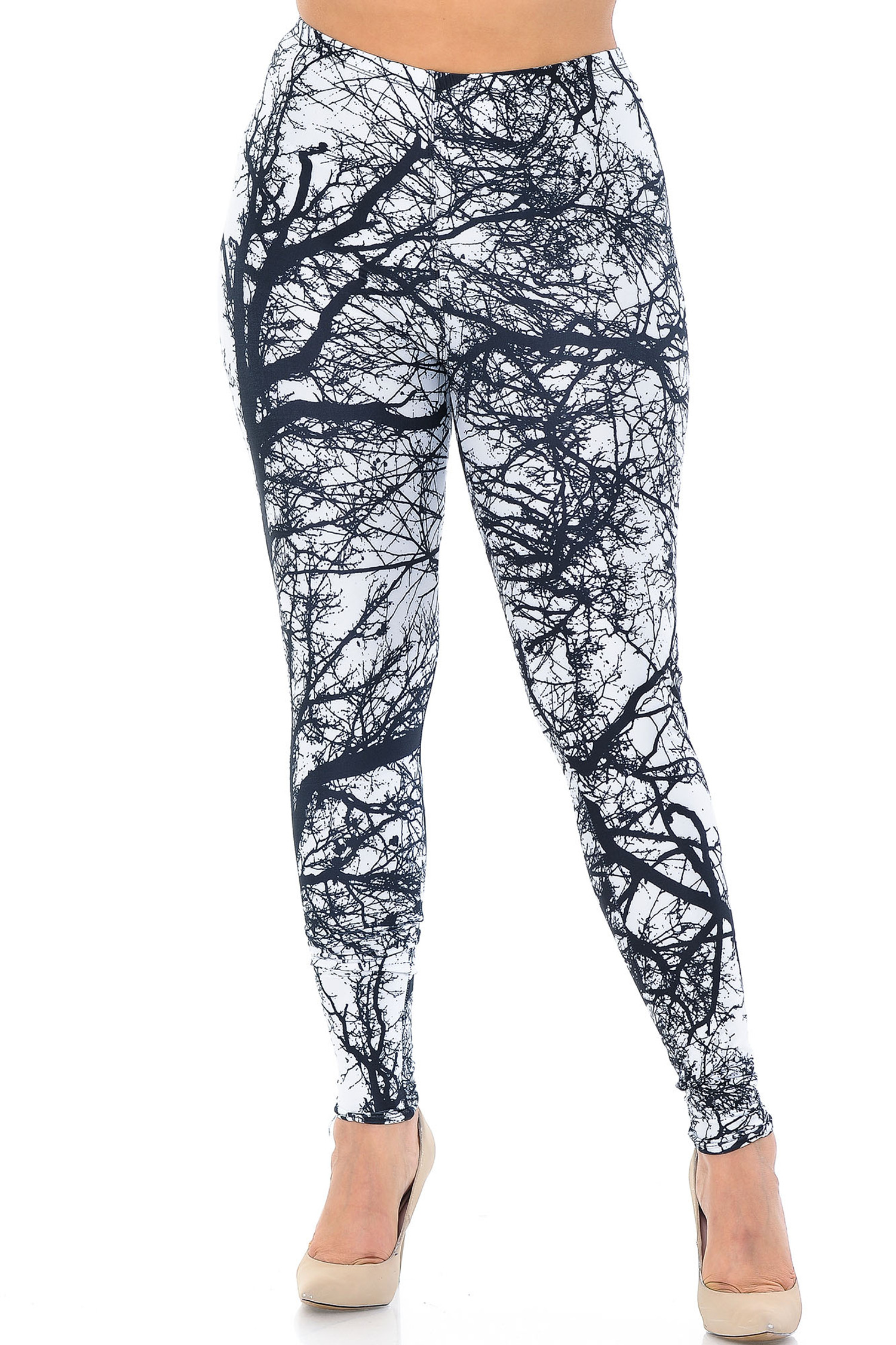 Creamy Soft Photo Negative Tree Plus Size Leggings - USA Fashion™