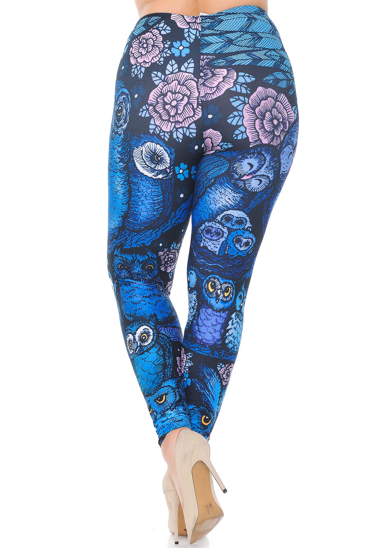 Creamy Soft Blue Owl Collage Extra Plus Size Leggings - 3X-5X - USA Fashion™