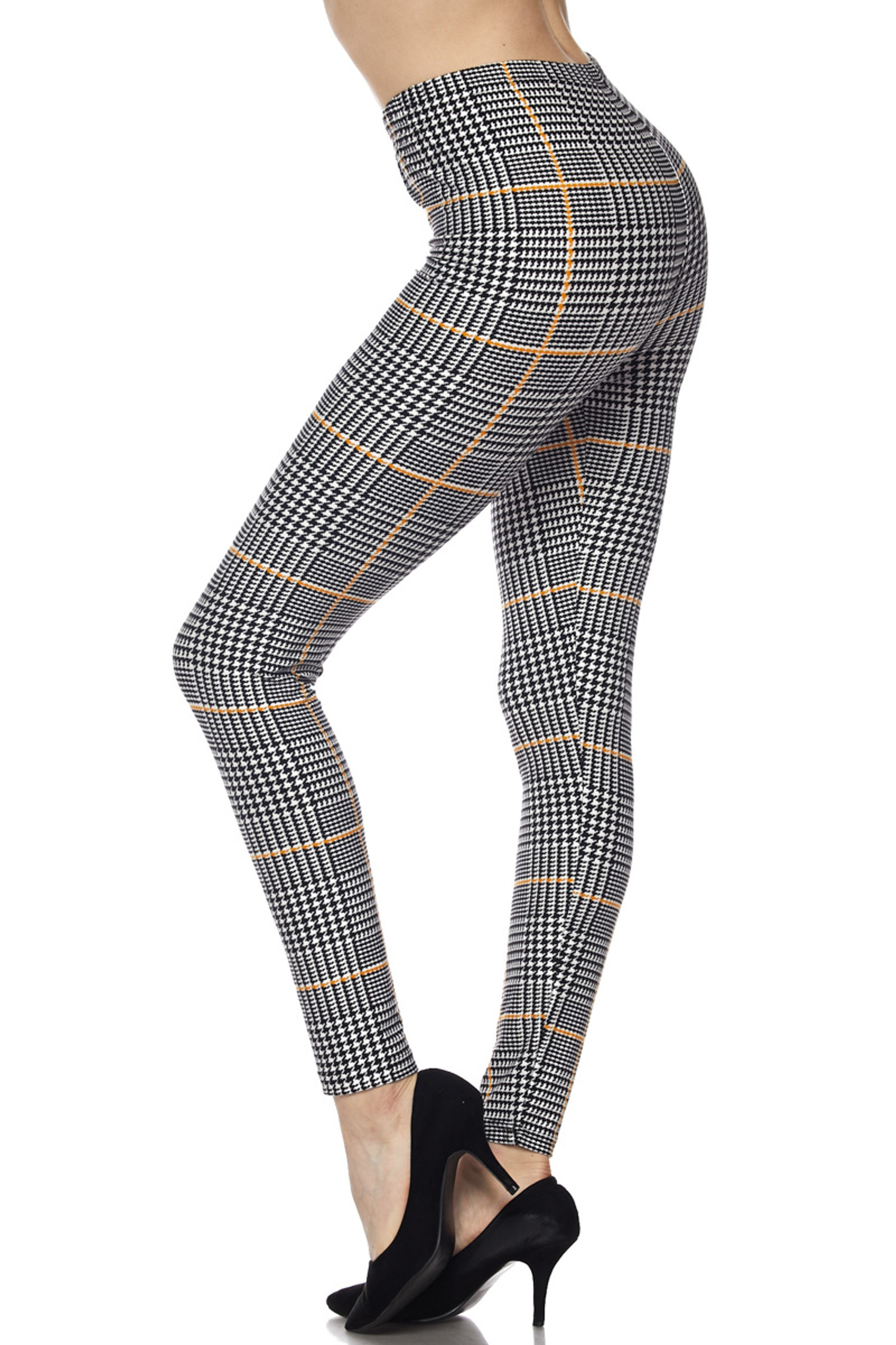 Buttery Soft Mustard Accent Houndstooth Plaid Bra and Leggings Set