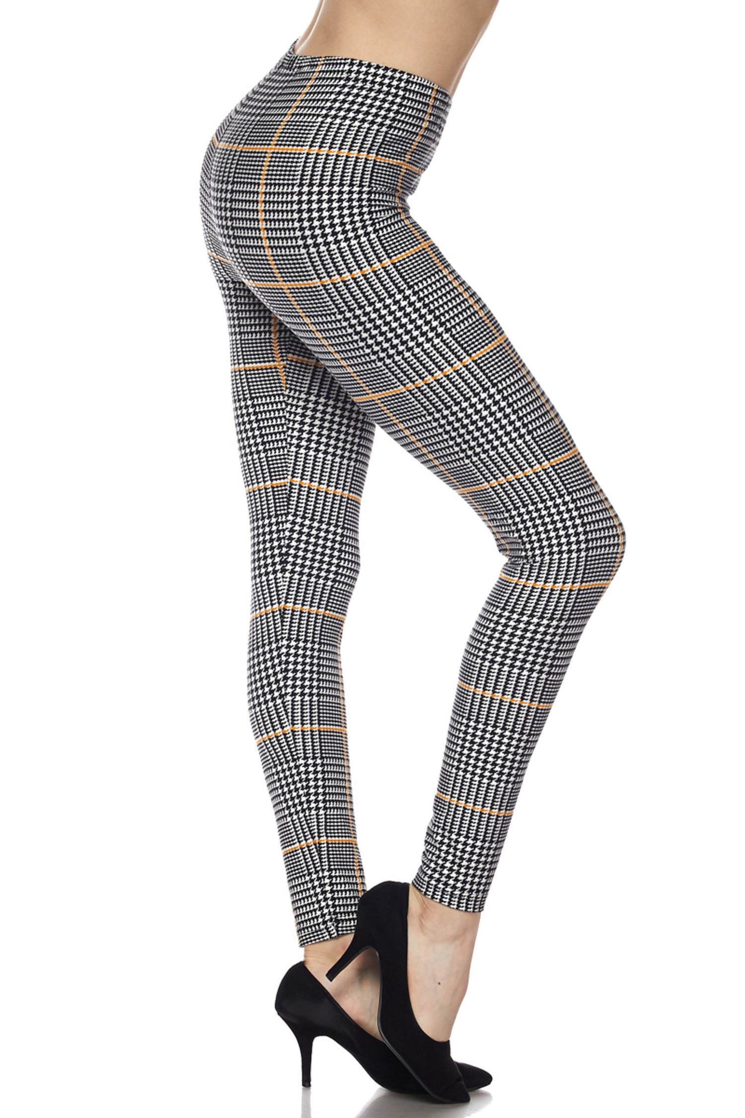 Buttery Soft Mustard Accent Houndstooth Plaid Leggings