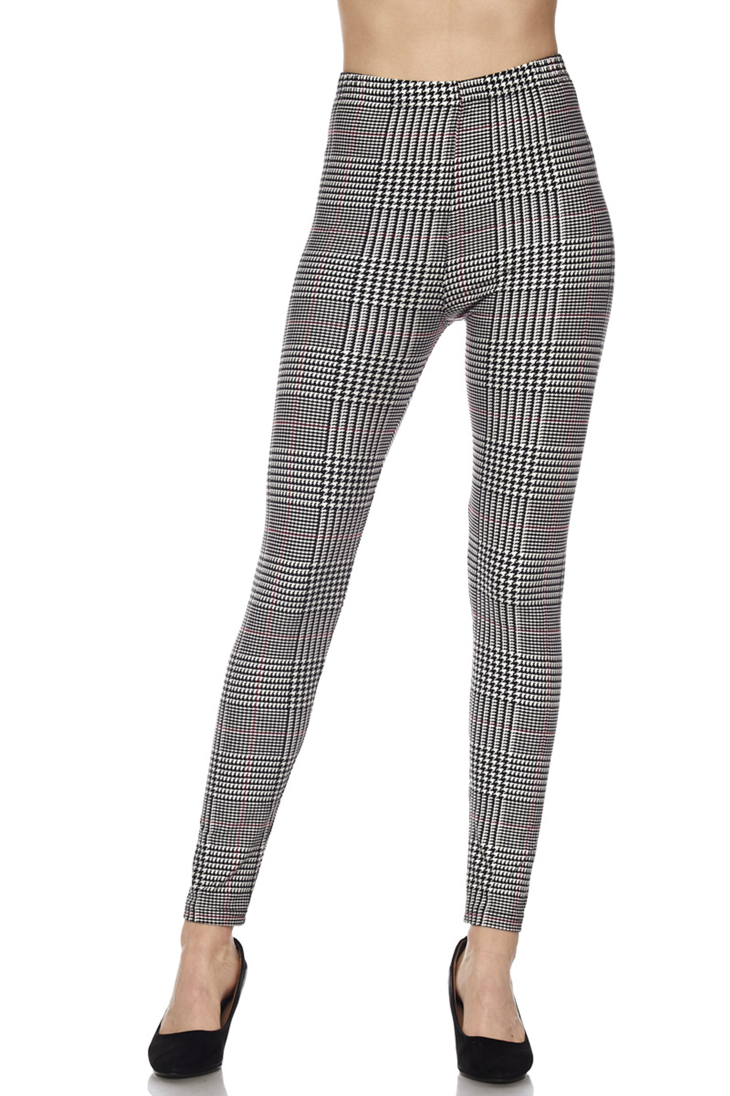 Buttery Soft Burgundy Accent Houndstooth Plaid Leggings