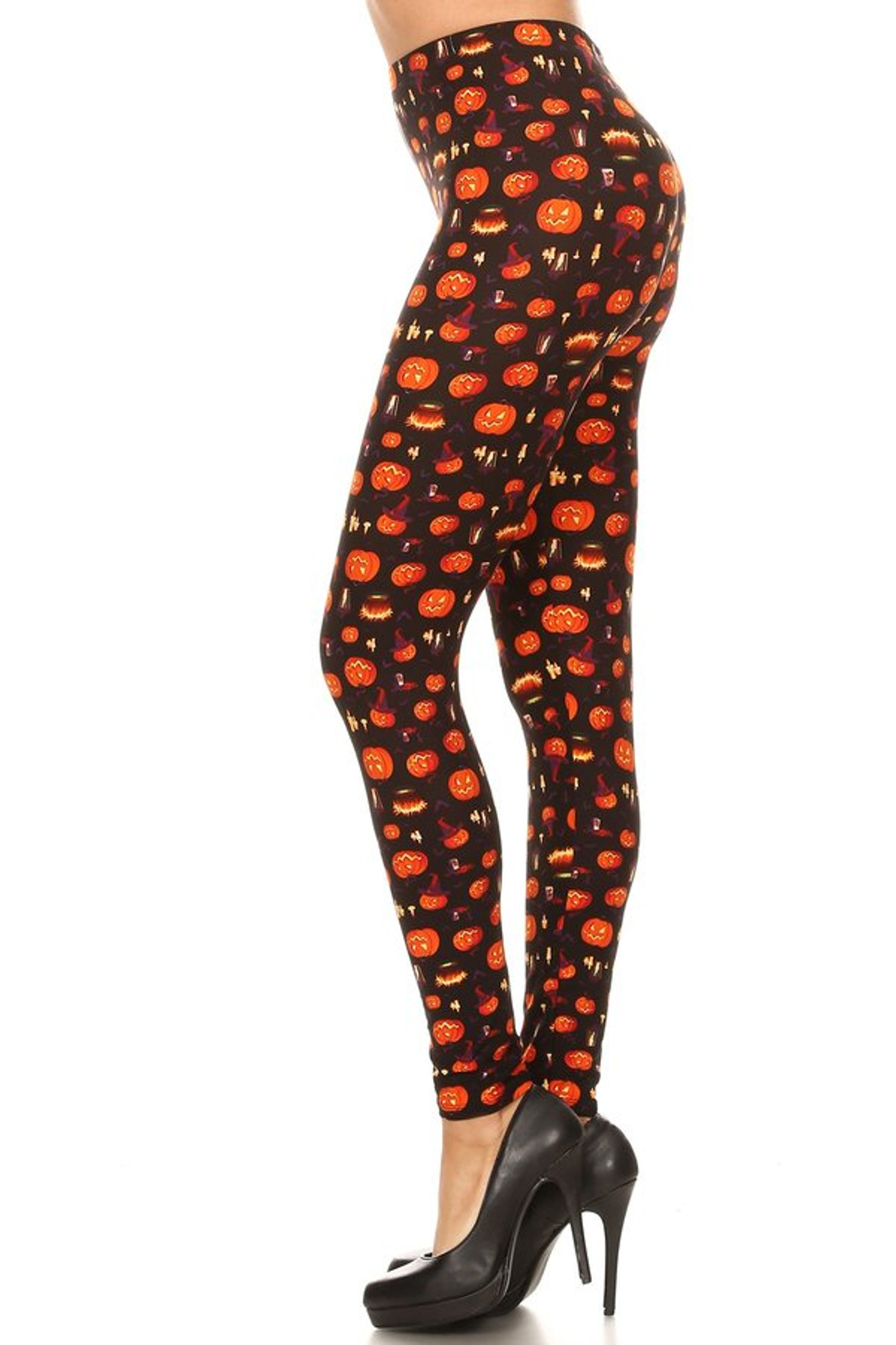 Brushed Pumpkins Cauldrons and Candles Halloween Plus Size Leggings