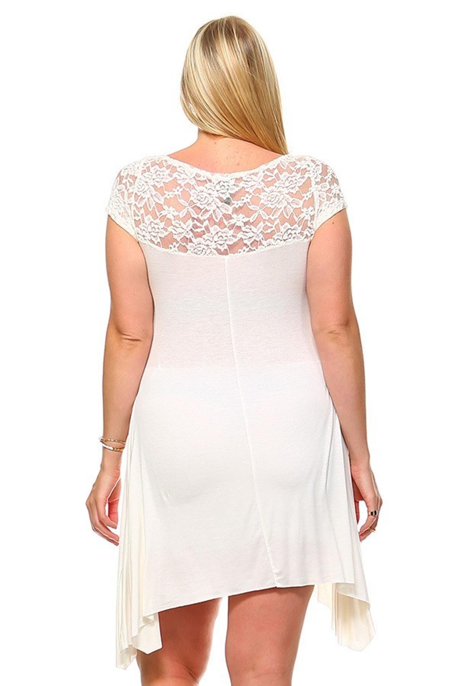 Duo Fabric Short Sleeve Lace Detail Asymmetrical Plus Size Dress