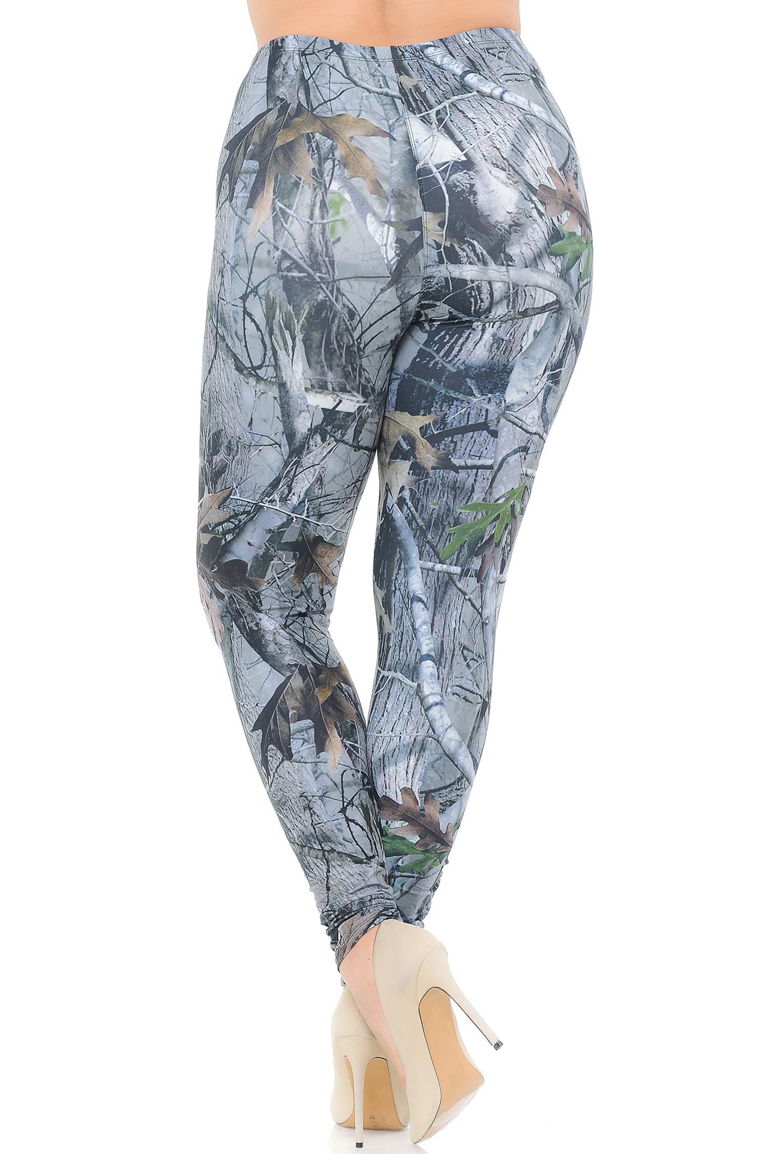 Creamy Soft Camouflage Trees Plus Size Leggings - USA Fashion™