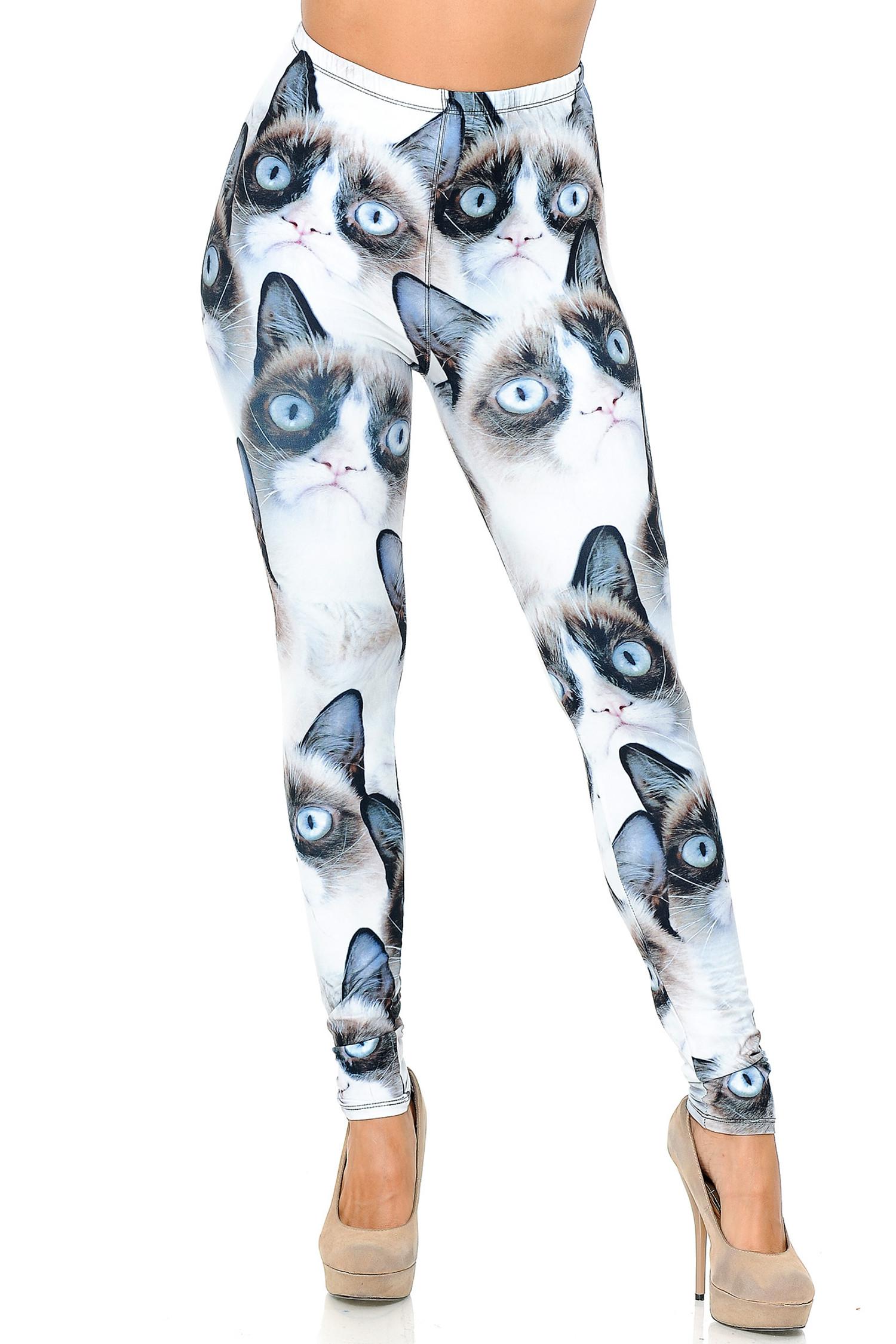 Creamy Soft Grumpy Cat Plus Size Leggings - USA Fashion™