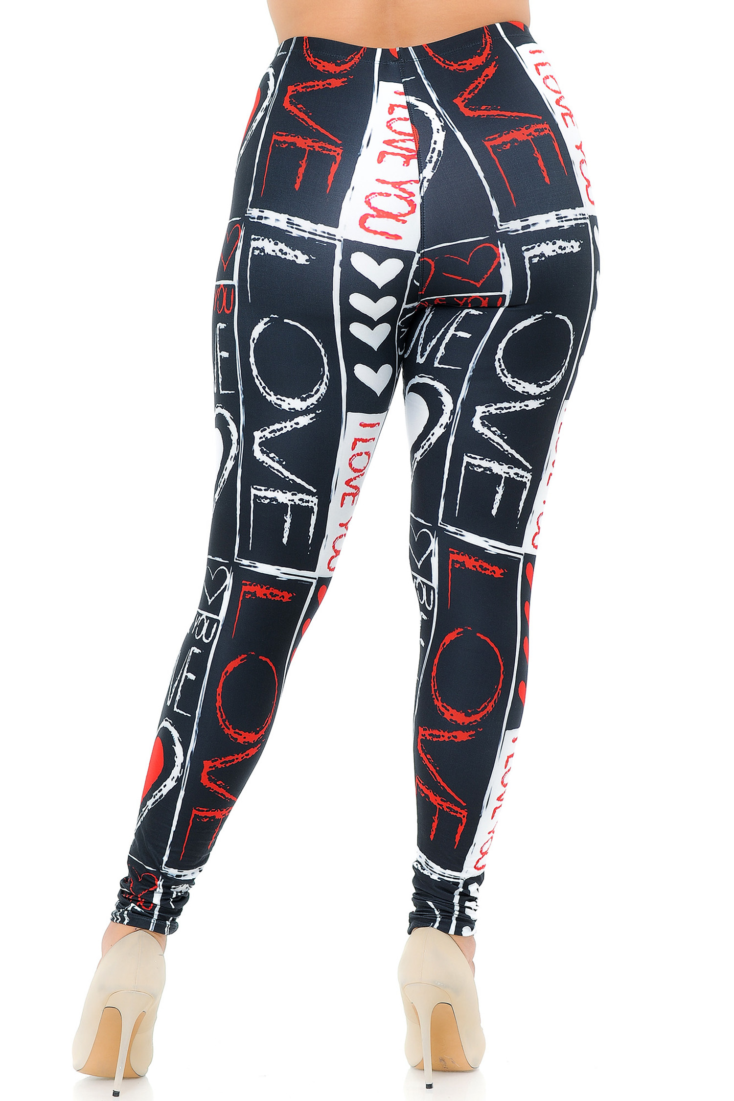 Creamy Soft Heart and Love Plus Size Leggings - USA Fashion™