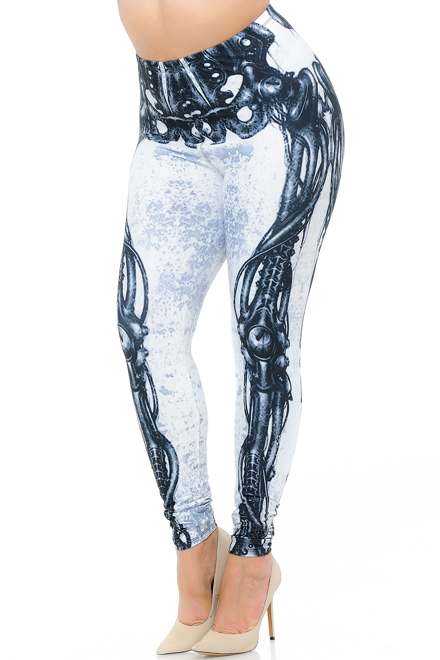 Creamy Soft White Bio Mechanical Skeleton Plus Size Leggings (Steam Punk) - USA Fashion™