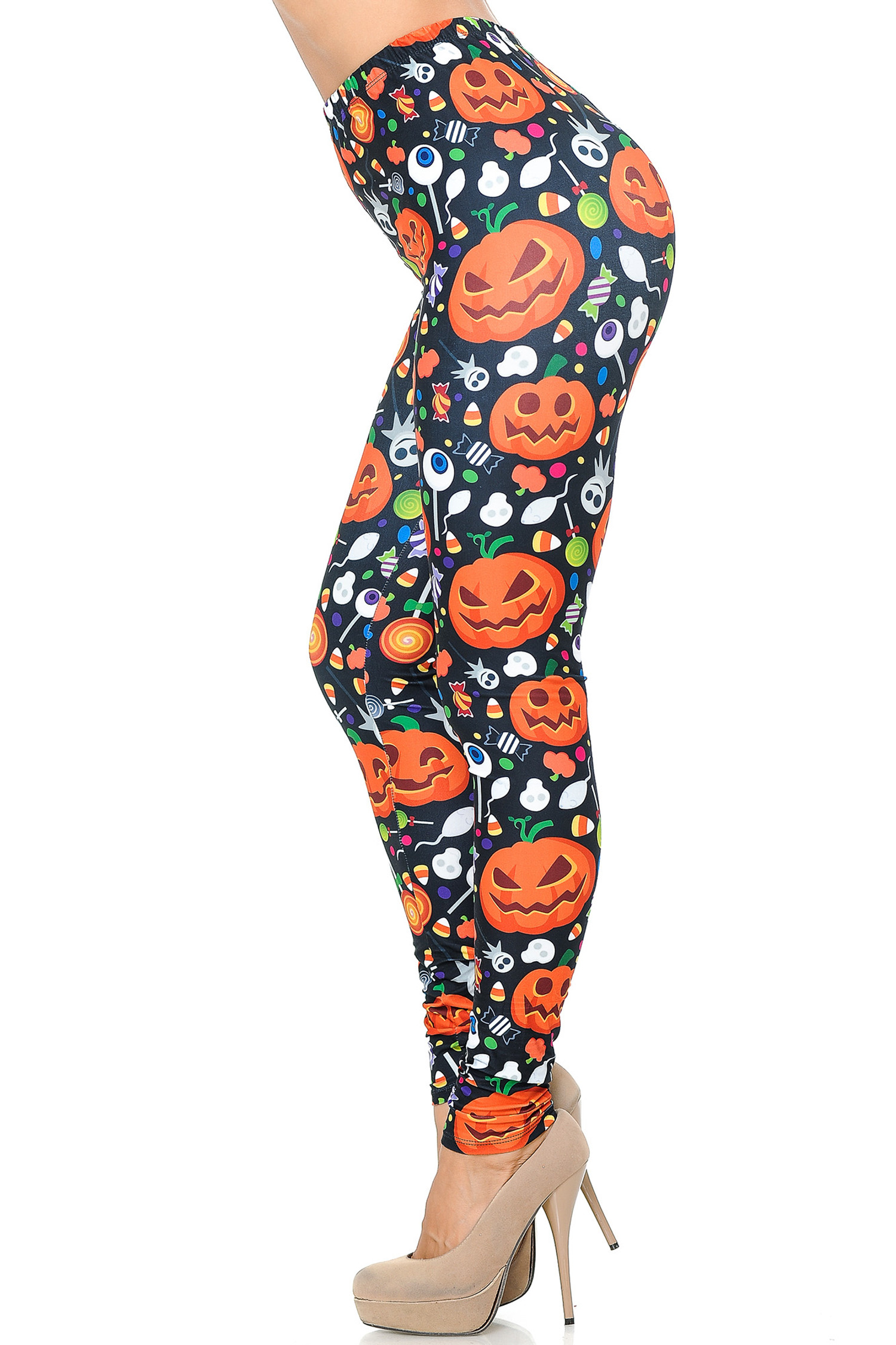 Creamy Soft Pumpkins and Halloween Candy Leggings - USA Fashion™