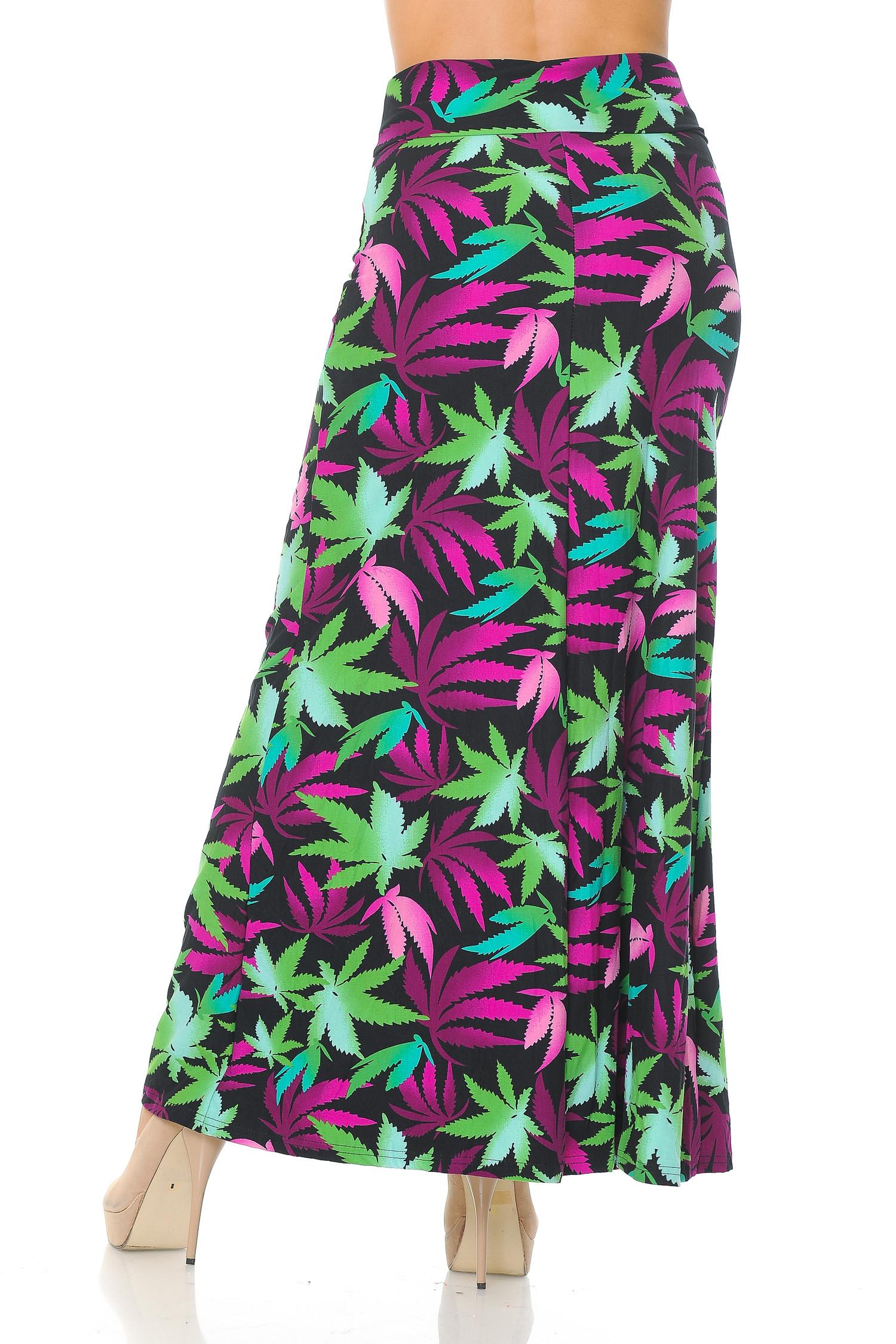 Brushed Fuchsia Marijuana Maxi Skirt