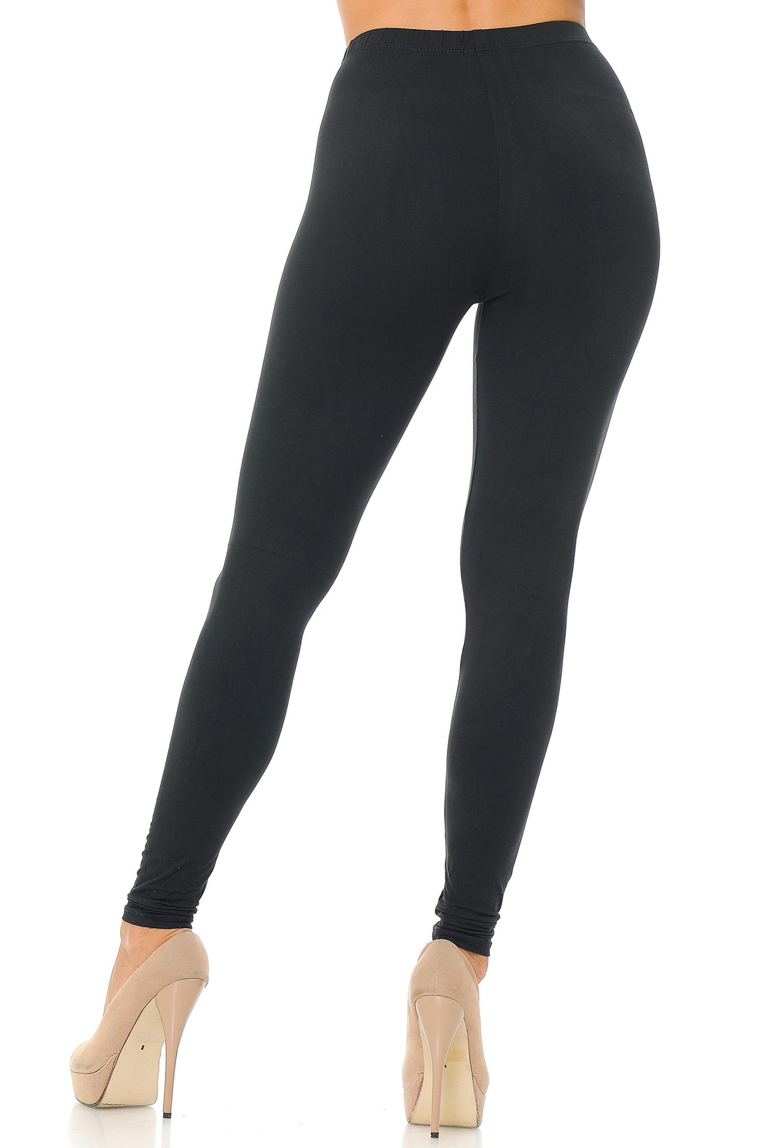 Black Back Brushed Basic Solid Leggings - EEVEE