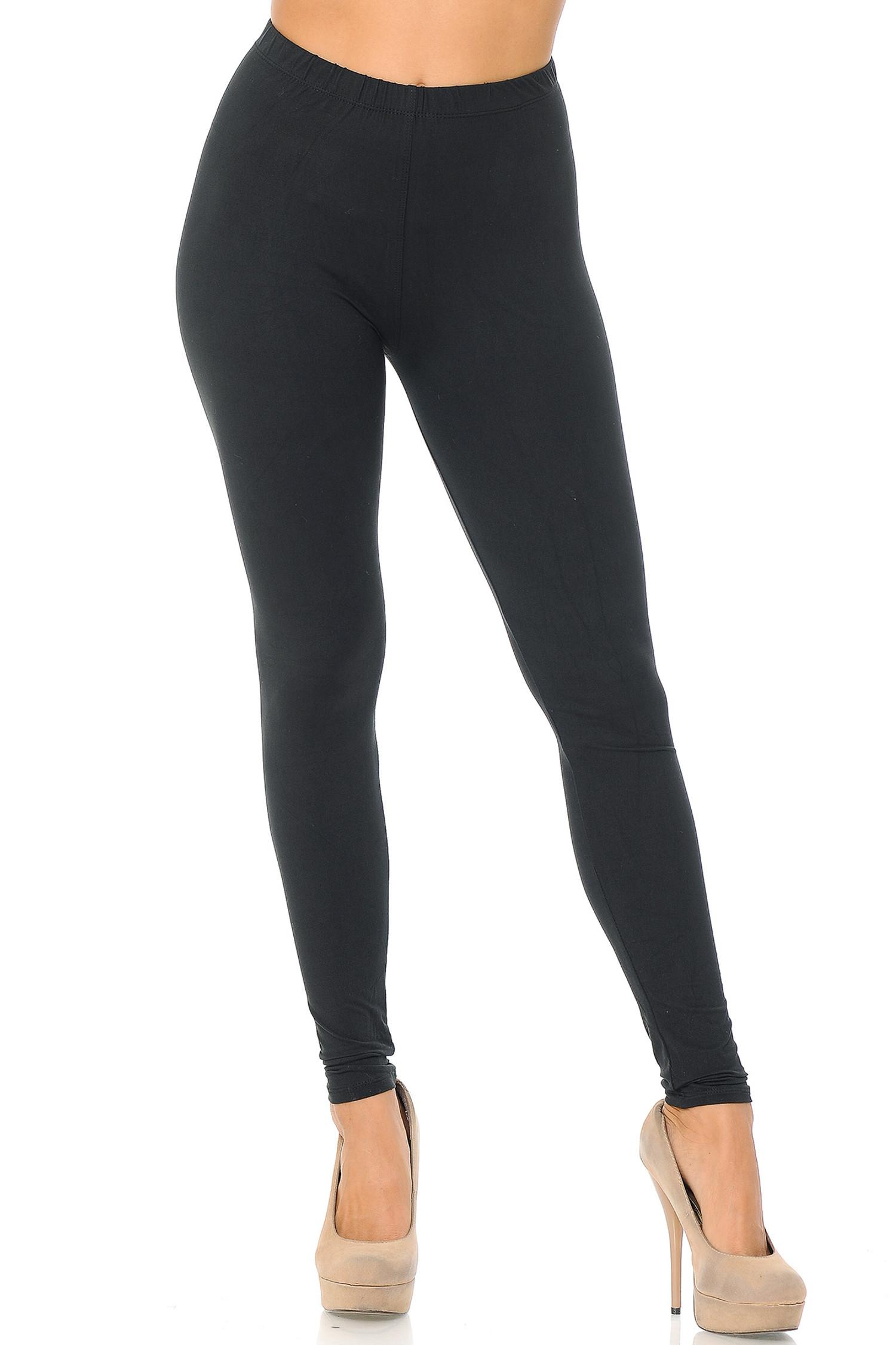 Black Front Brushed Basic Solid Leggings - EEVEE