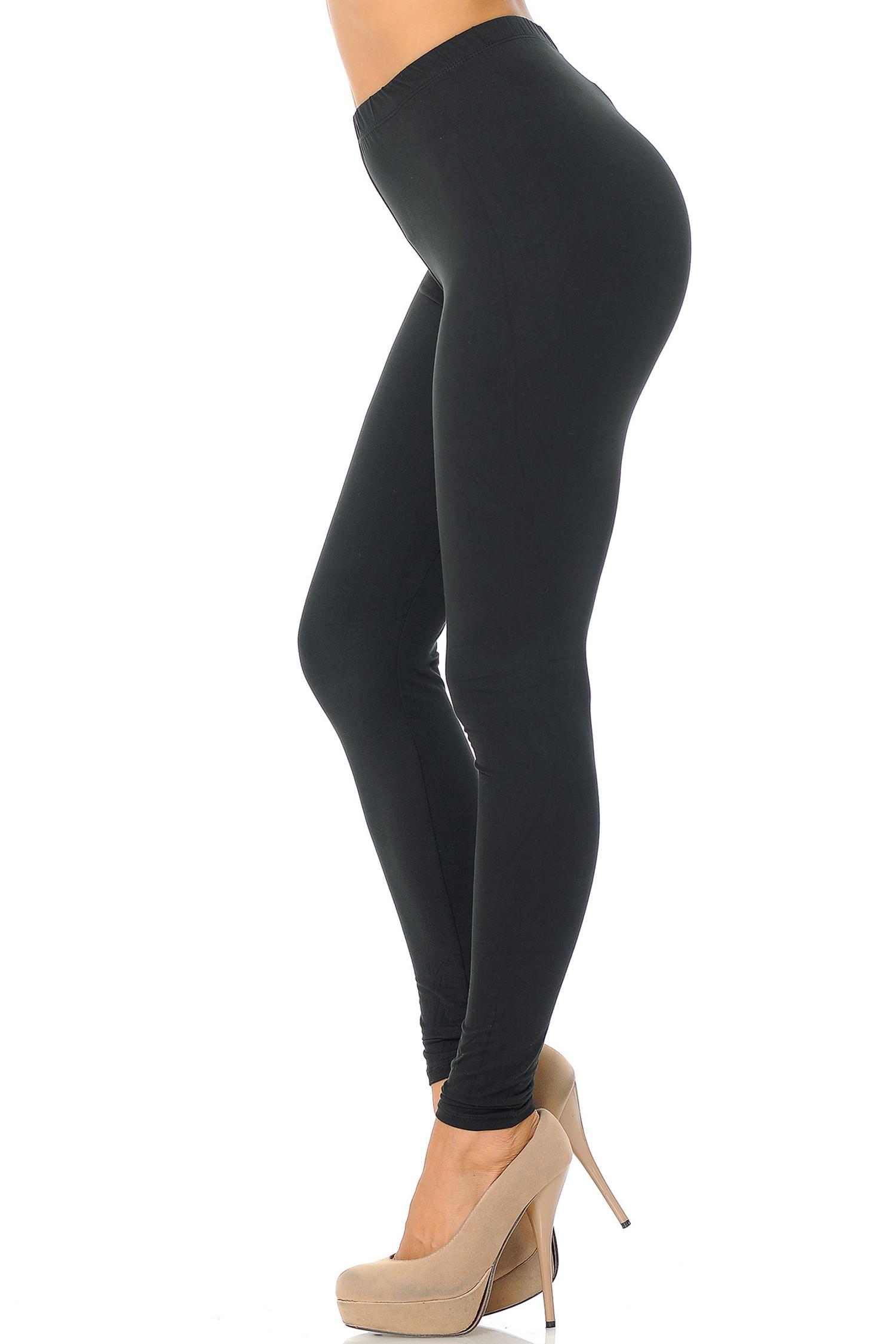 Black Left Side Brushed Basic Solid Leggings - EEVEE