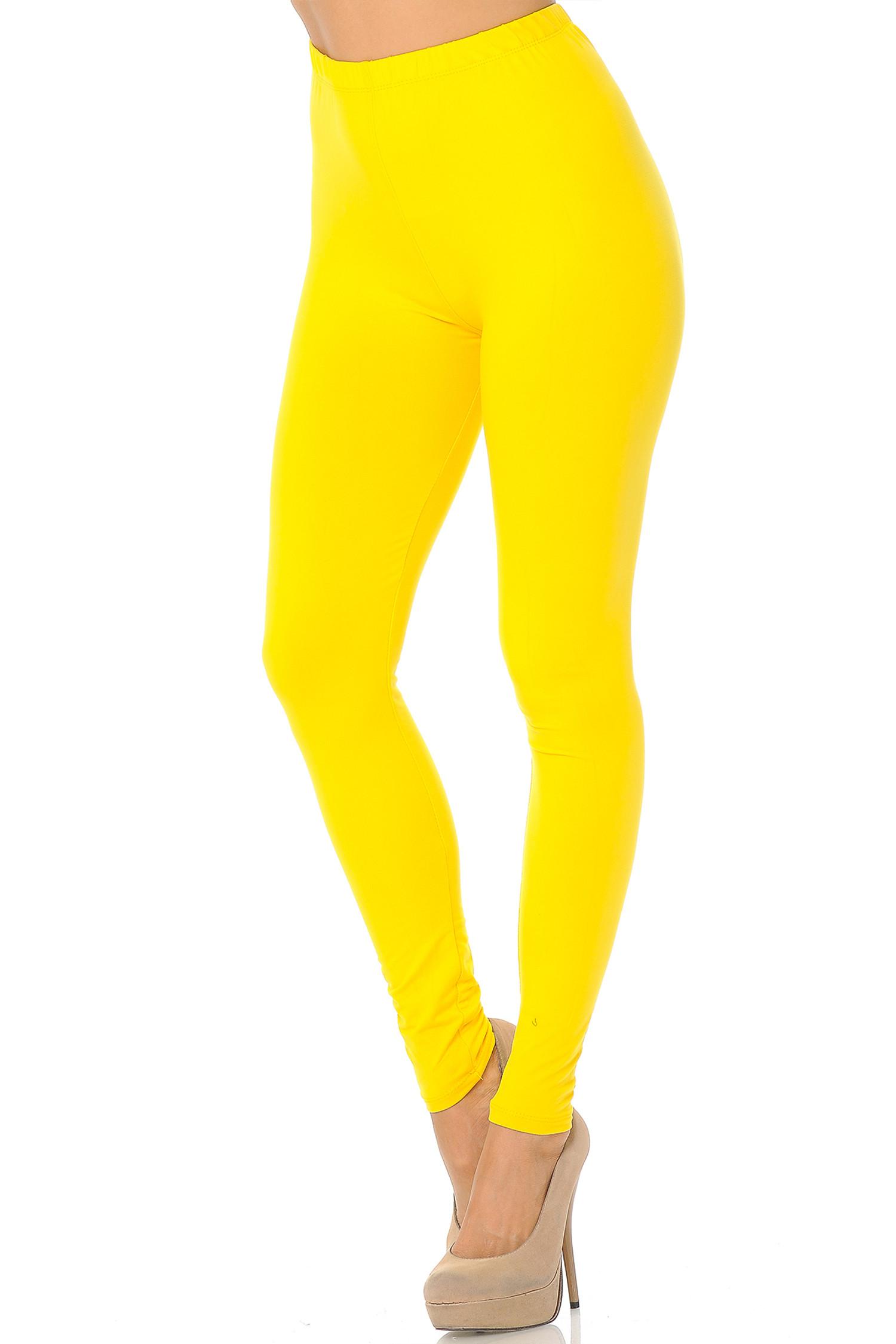 Yellow Brushed Basic Solid Leggings - EEVEE
