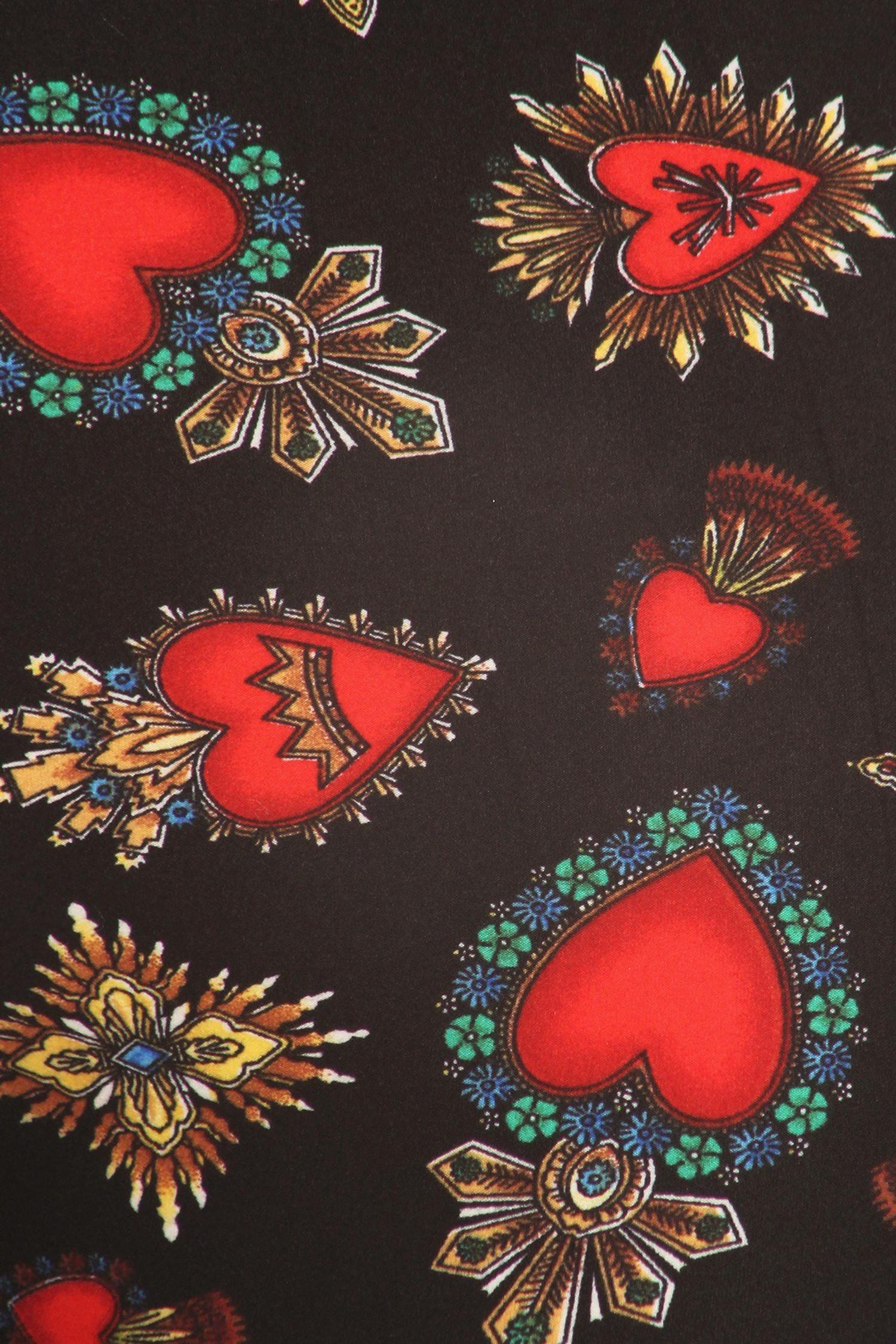 Brushed Jeweled Hearts Extra Plus Size Leggings - 3X-5X