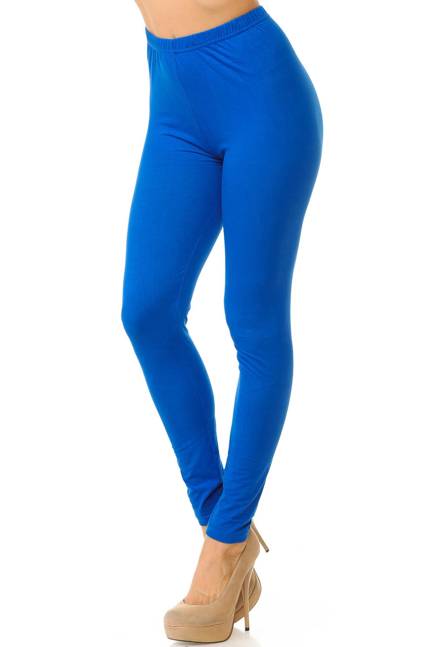 Royal Blue Brushed Basic Solid Leggings - New Mix