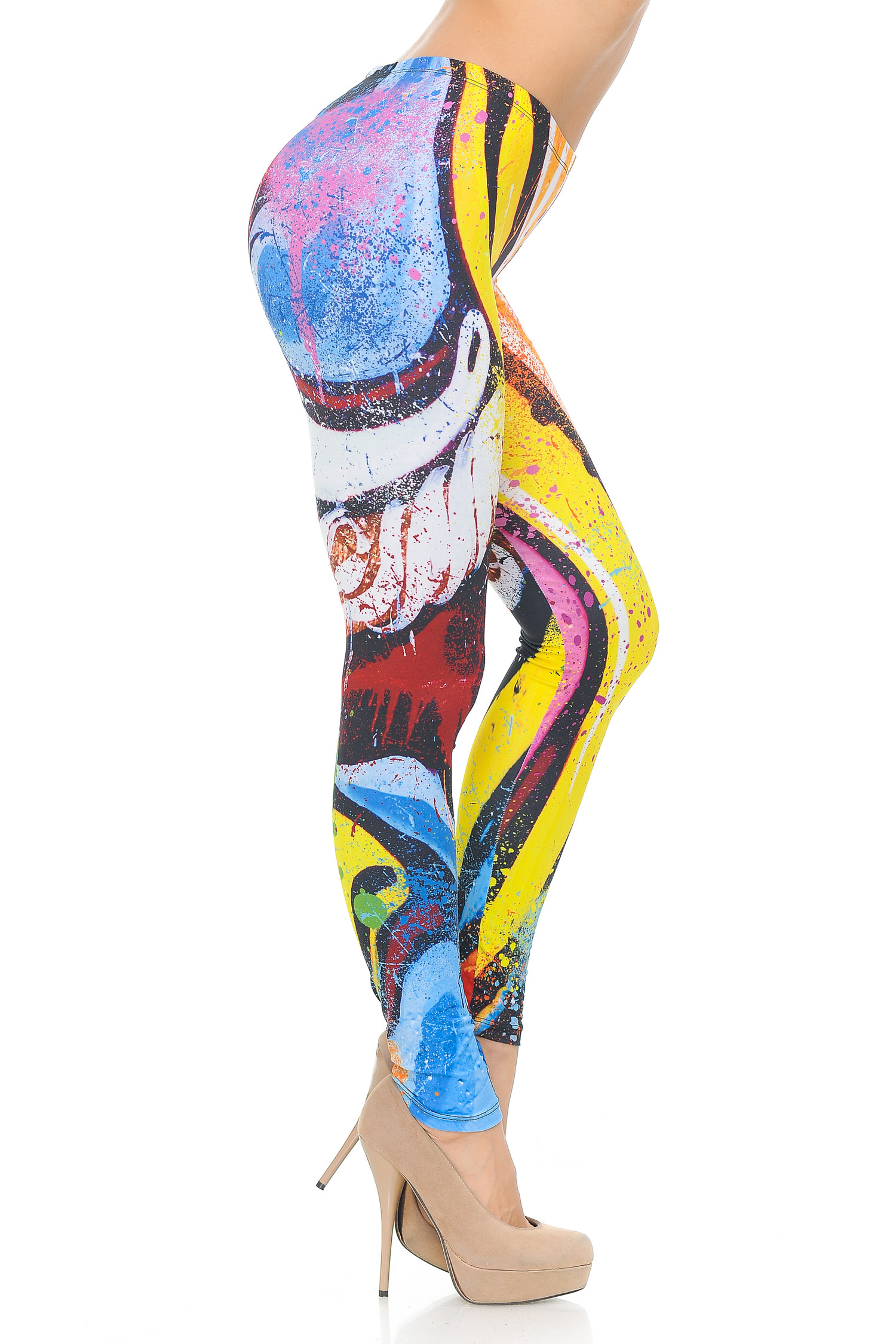 Double Brushed Graphic Picasso Paint Strokes Leggings