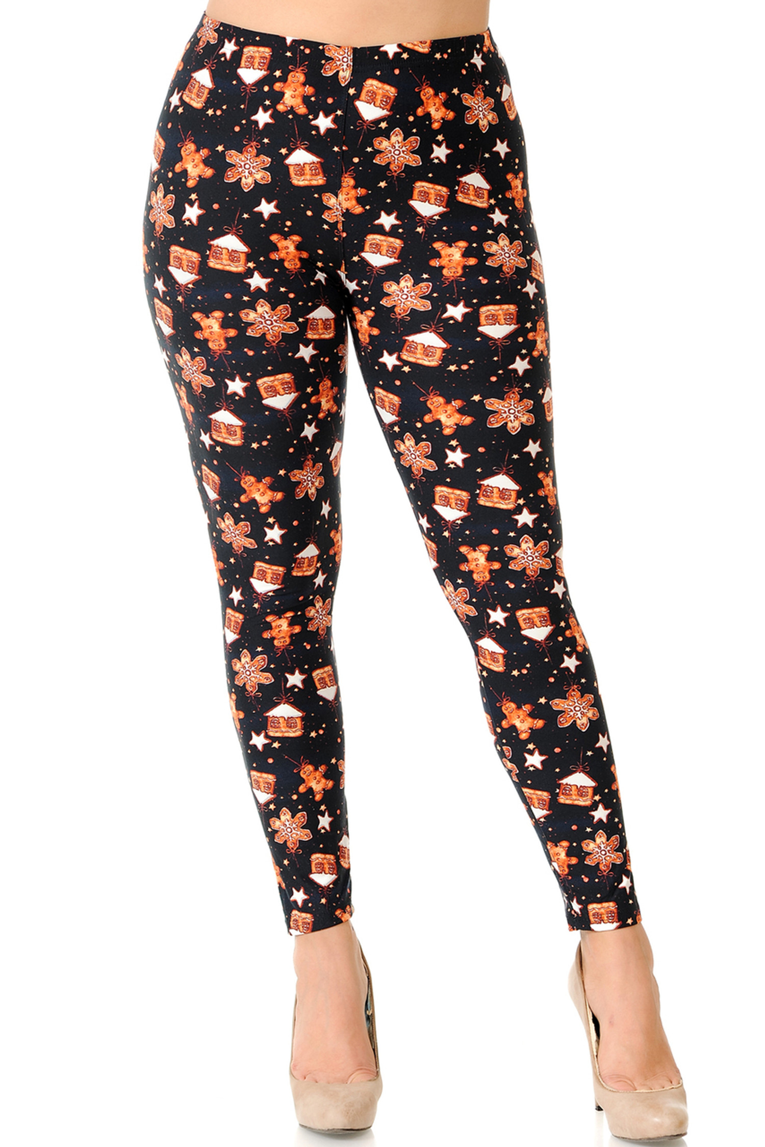 Brushed Gingerbread Christmas Extra Plus Size Leggings - 3X-5X