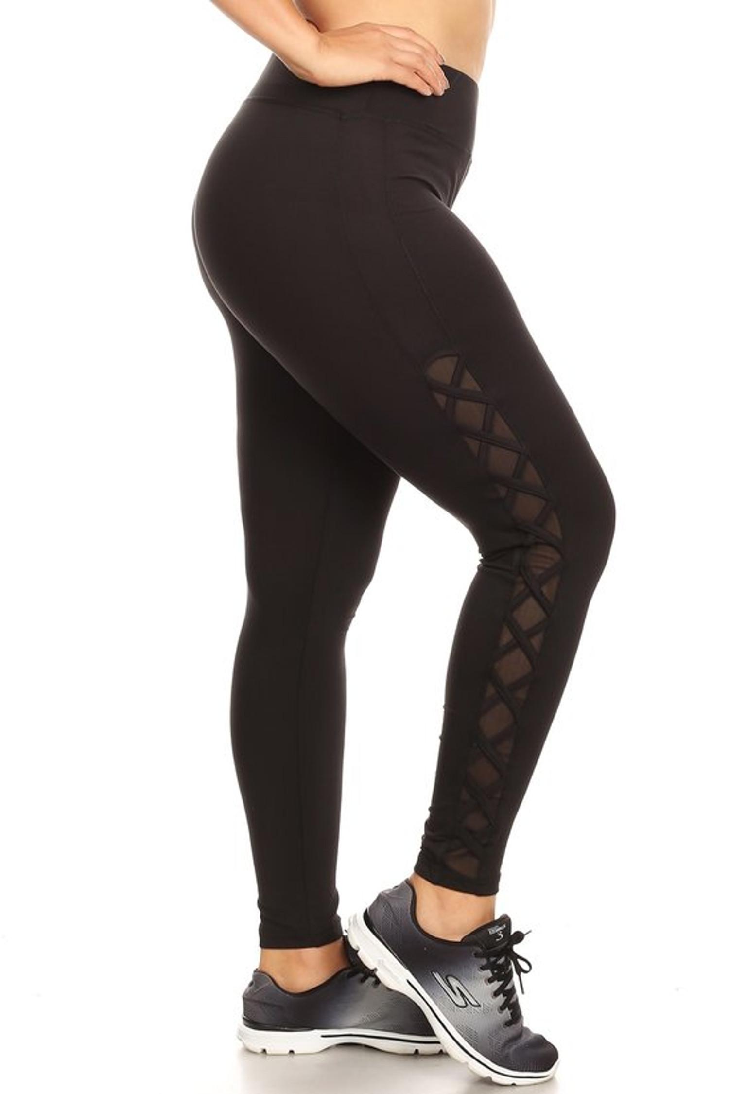 Side Crisscross Mesh Sport Plus Size Leggings